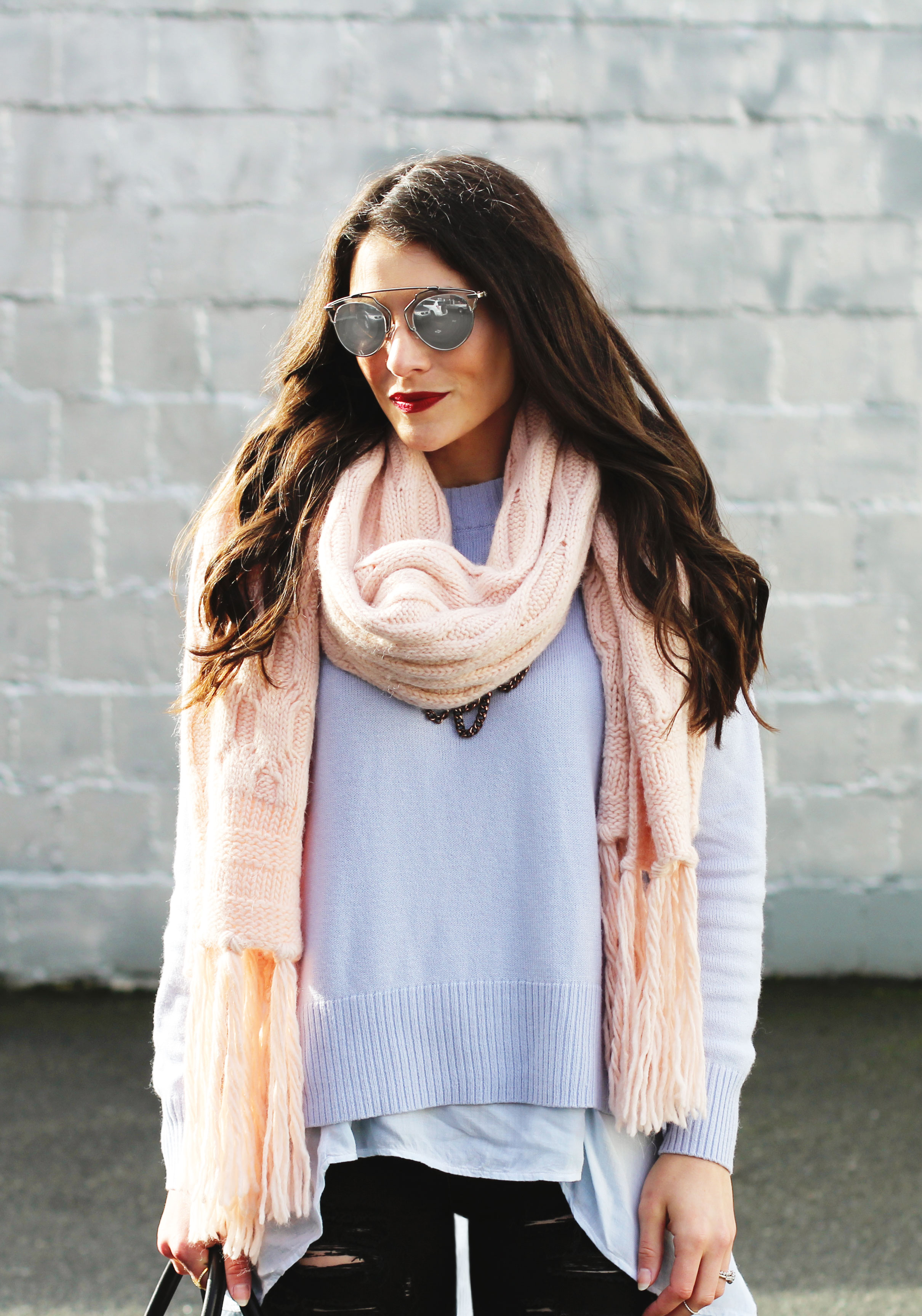 Winter Outfit, Pantone Colors 2016, Banana Republic Rose Quartz Scarf, Serenity Blue Sweater, Black Ripped Skinny Jeans, Rebecca Minkoff Mini Perry Satchel, Seyhelles Accordian Booties