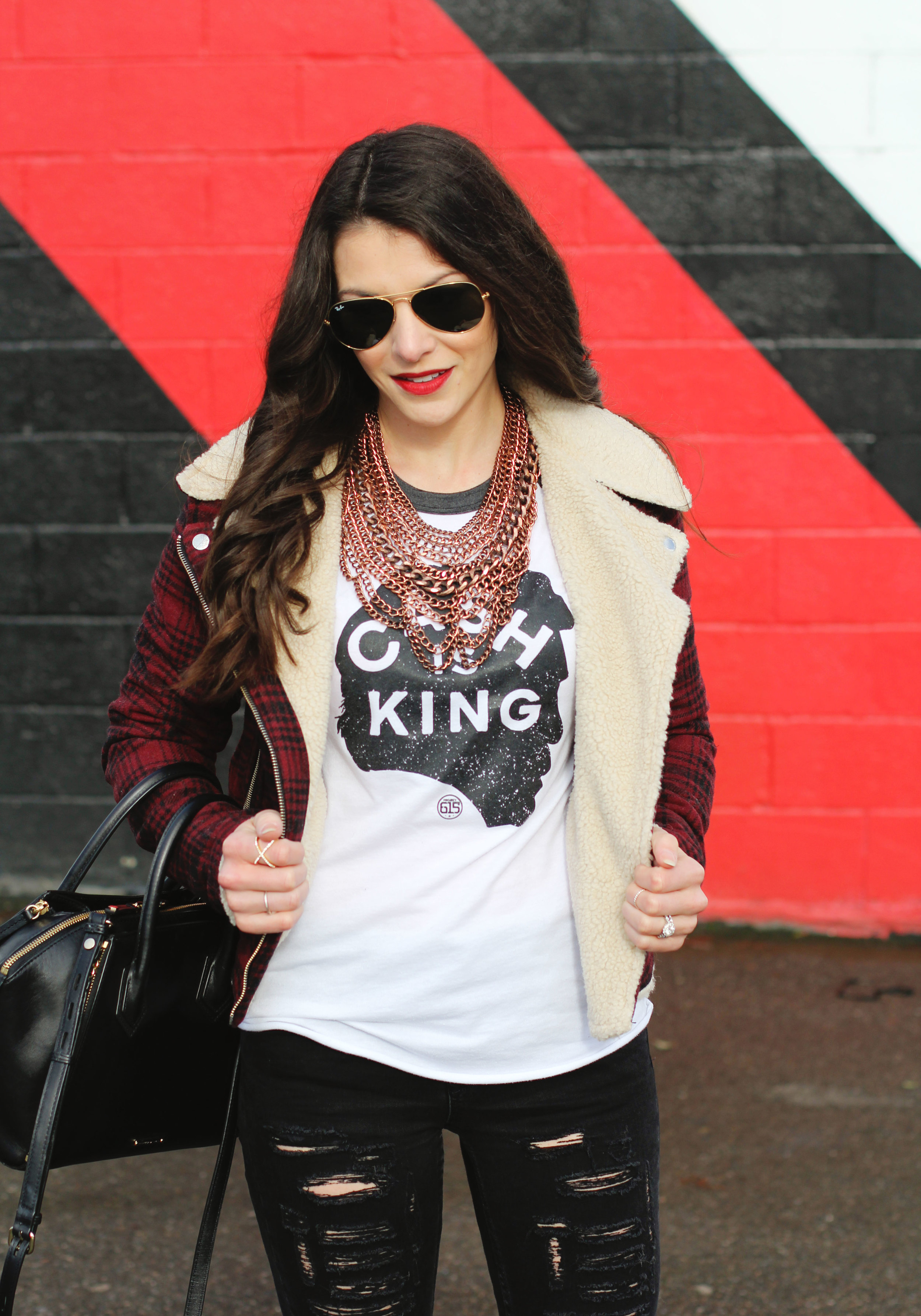 Winter OOTD, Plaid Moto Jacket, Johnny Cash Tee, Ripped Skinny Jeans, Steve Madden 'Gorgeous' Over The Knee Boots, Rebecca Minkoff 'Mini Perry' Satchel, Ray-Ban Aviators, Baublebar 'Courtney' Necklace