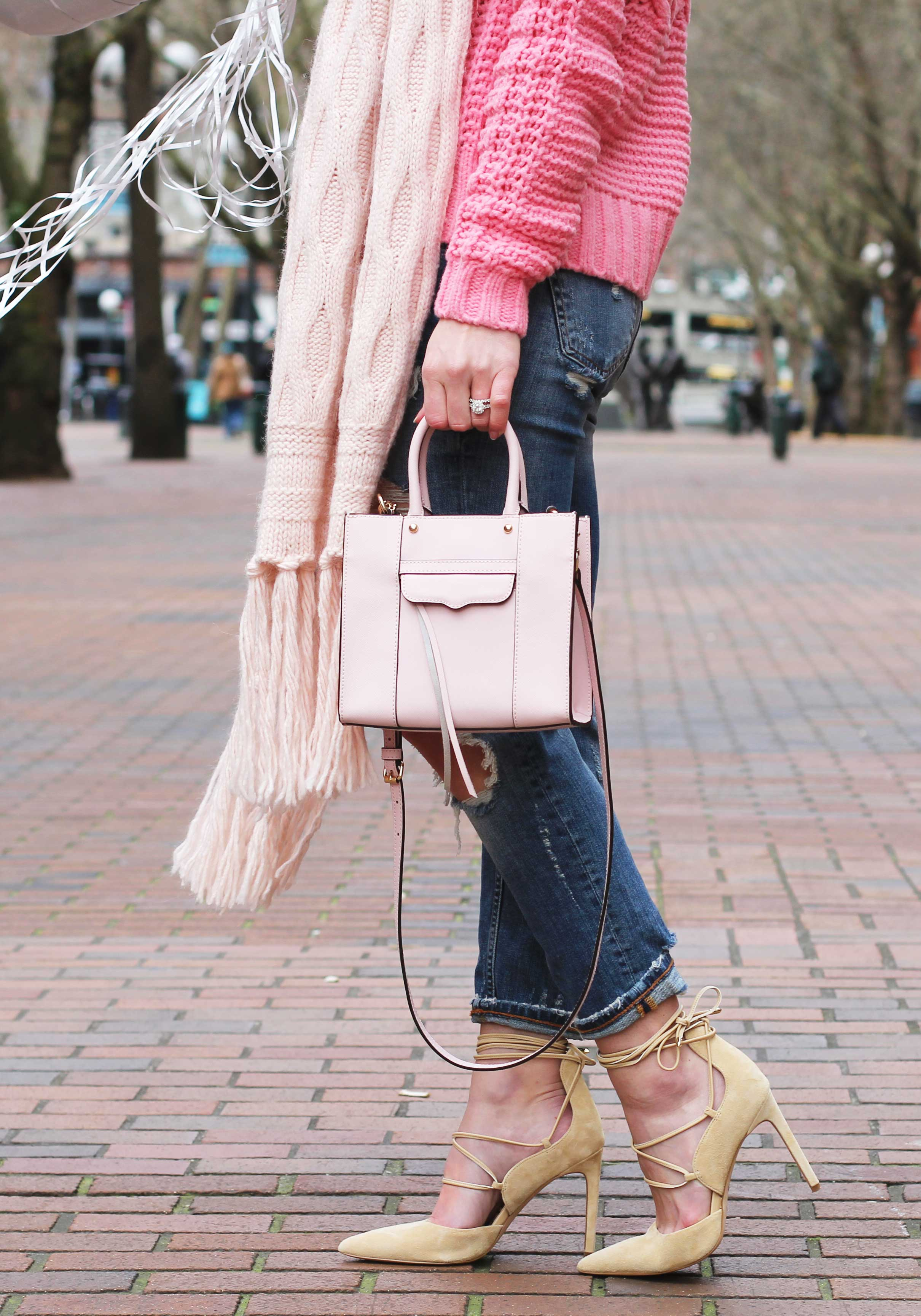 """Casual Valentine's Day Outfit, Banana Republic Cable-Knit Sweater & Scarf, Destroyed Girlfriend Jeans, Sam Edelman """"Dayna"""" Lace-Up Pumps, Rebecca Minkoff 'Mab Mini' Bag, Conversation Heart Balloons"""