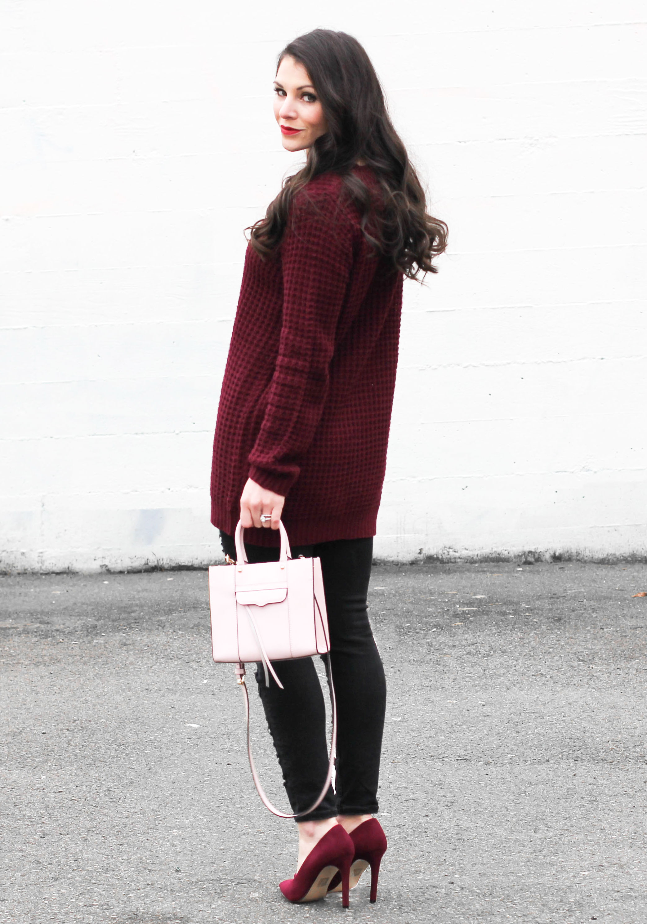 Casual Valentine's Day Outfit, Burgundy Tunic Sweater, Burgundy Pumps, Light Pink Rebecca Minkoff Mini Mab Tote, Black Destroyed Jeans, Dior Look Alike Sunglasses