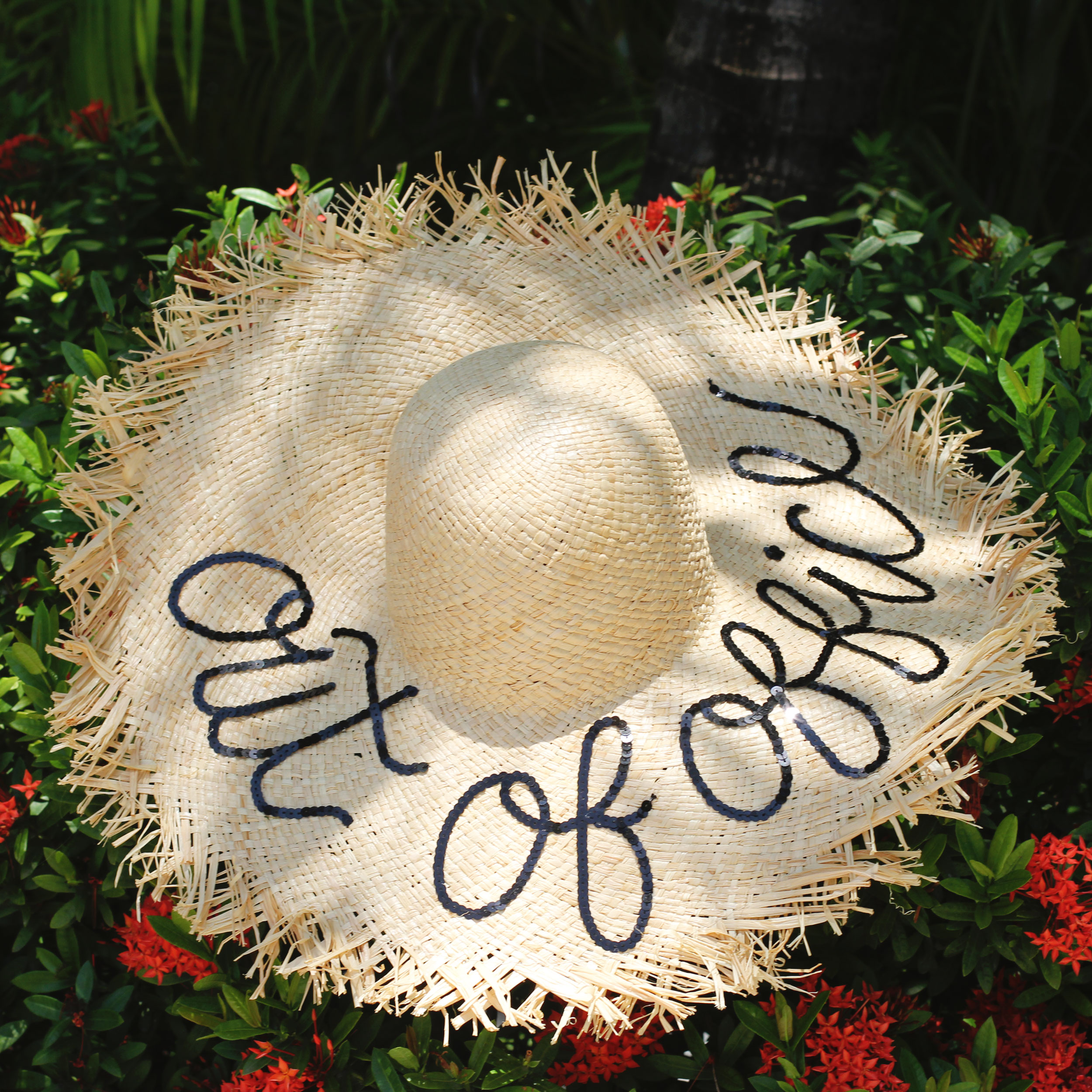 """DIY Eugenia Kim """"Wish You Were Here Hat"""", Hat for destination bride, floppy hat for honeymoon, Honeymoon in Cancun at The Beloved Hotel"""