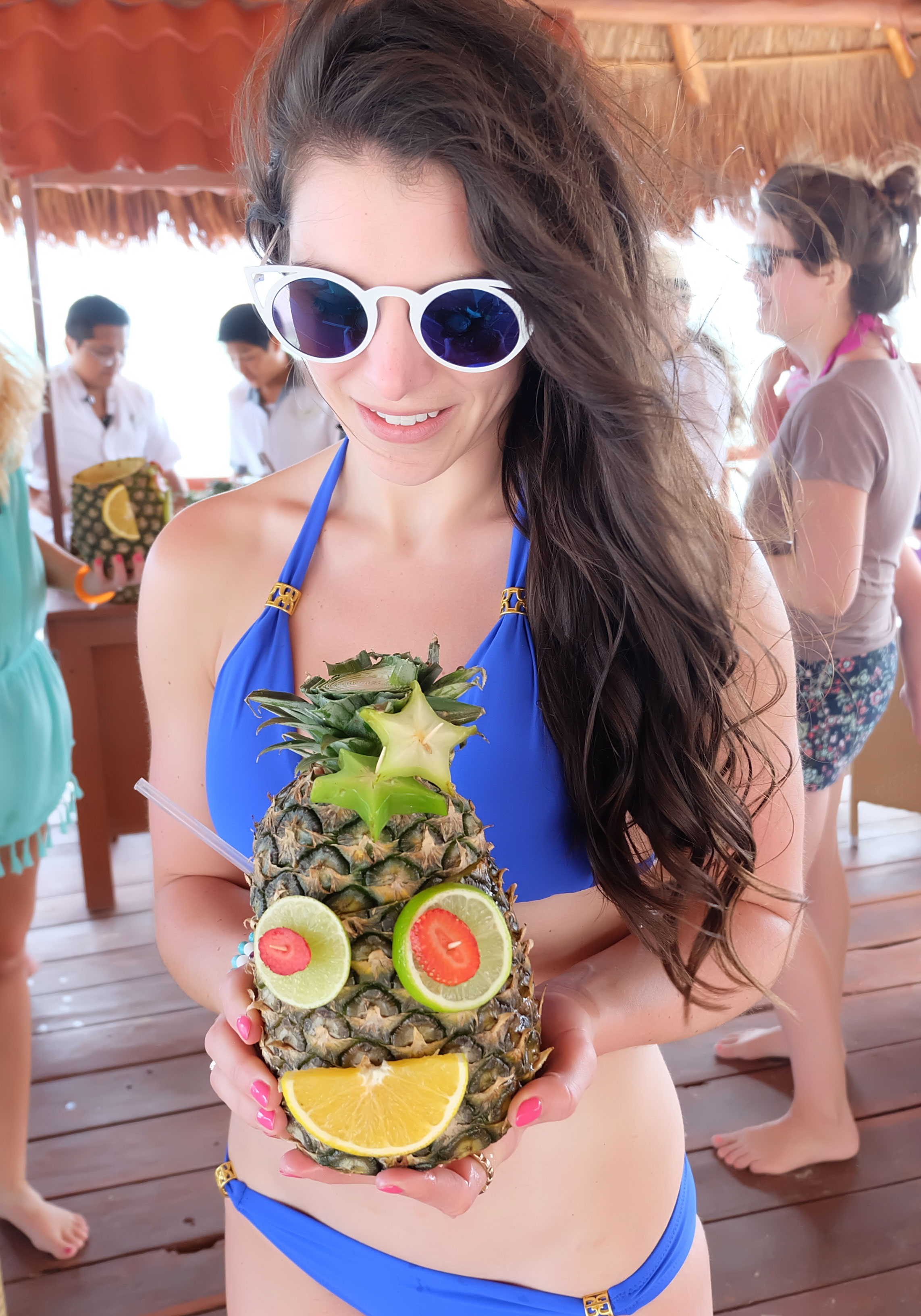 Helen Jon Slider Bikini in Blue, Pineapple Drinks in Mexico, Vacation Style