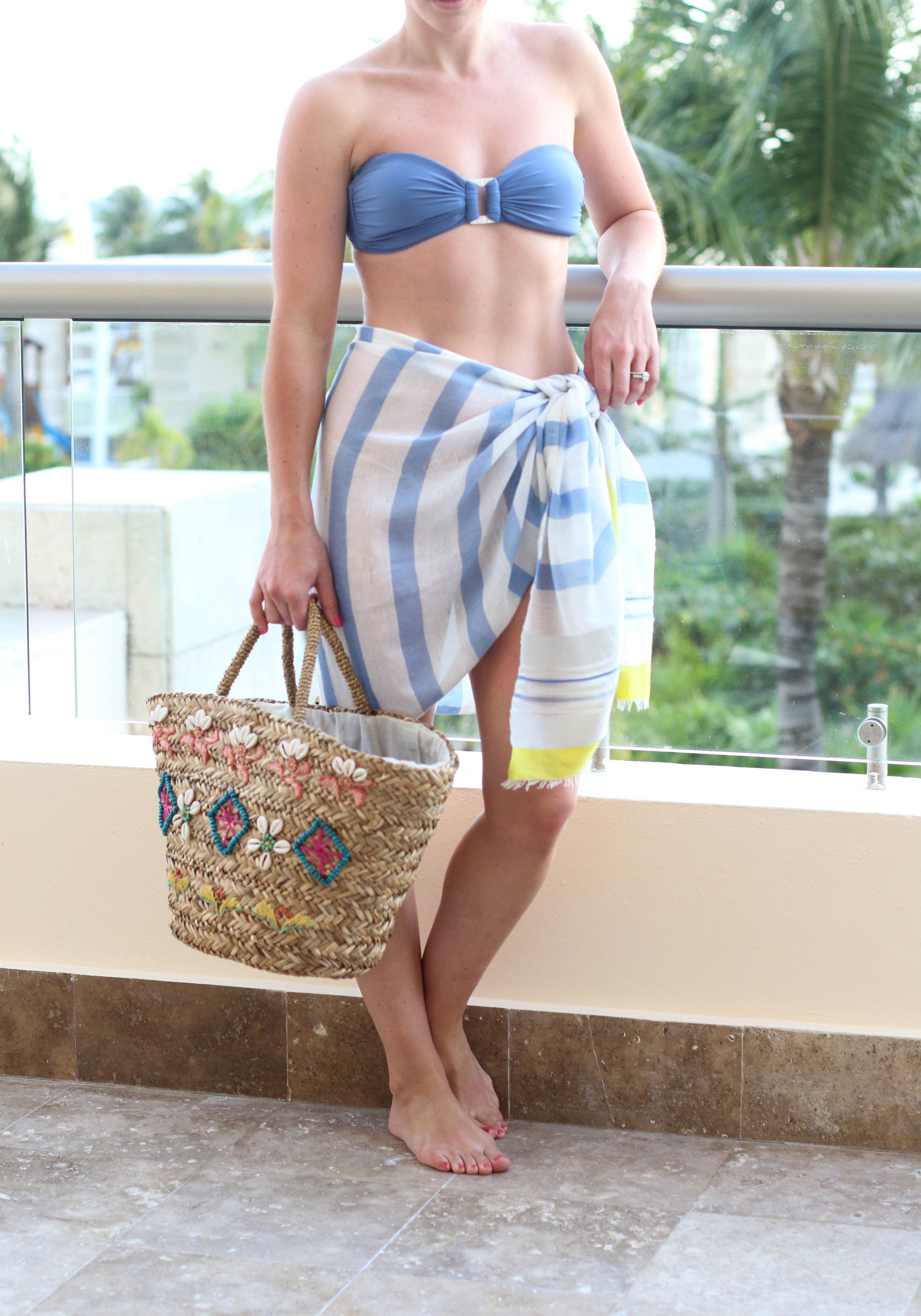 Helen Jon Bandeau Bikini, Scarf Worn as a Pareo, Hat Attack Beach Bag, Vacation Style