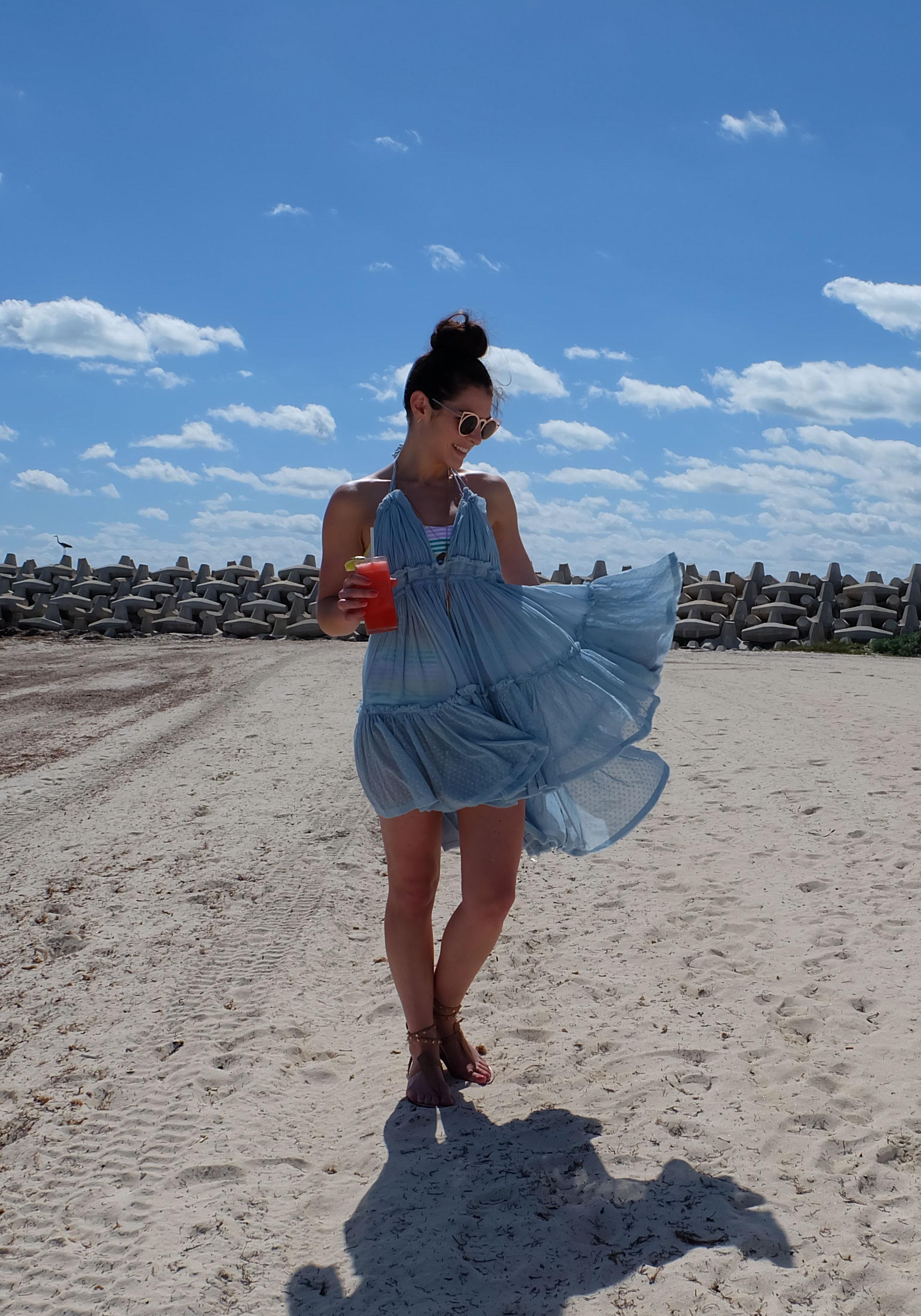 Vacation Outfit, Free People 100 Degree Dress, Aerie High-Rise Bikini Bottom & Bandeau Top, Sam Edelman Gigi Sandals, High Waisted Bikini