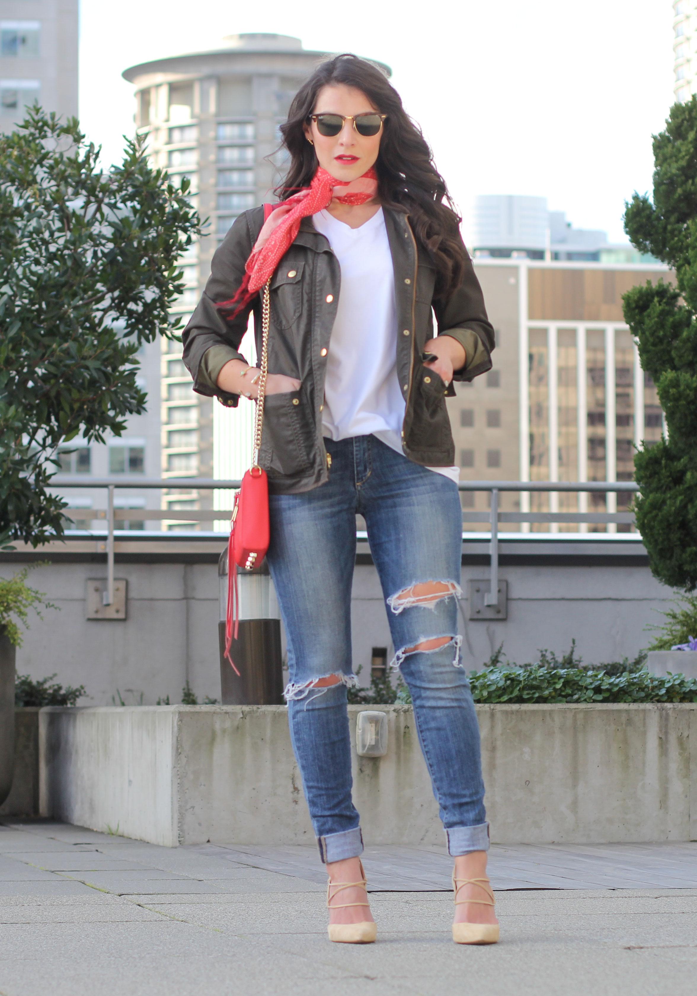 Shop His Closet: How to wear a boyfriend tee, Red Scarf, J.Crew Downtown Field Jacket, Sam Edelman 'Dayna' Pumps, Rebecca Minkoff Avery Crossbody