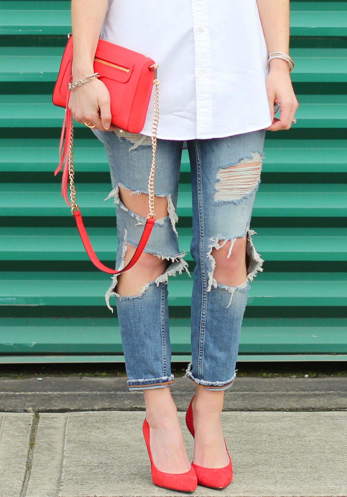 Zara Destroyed Girlfriend Jeans, Red Pumps, Red Rebecca Minkoff Avery Crossbody Handbag, White Boyfriend Shirt