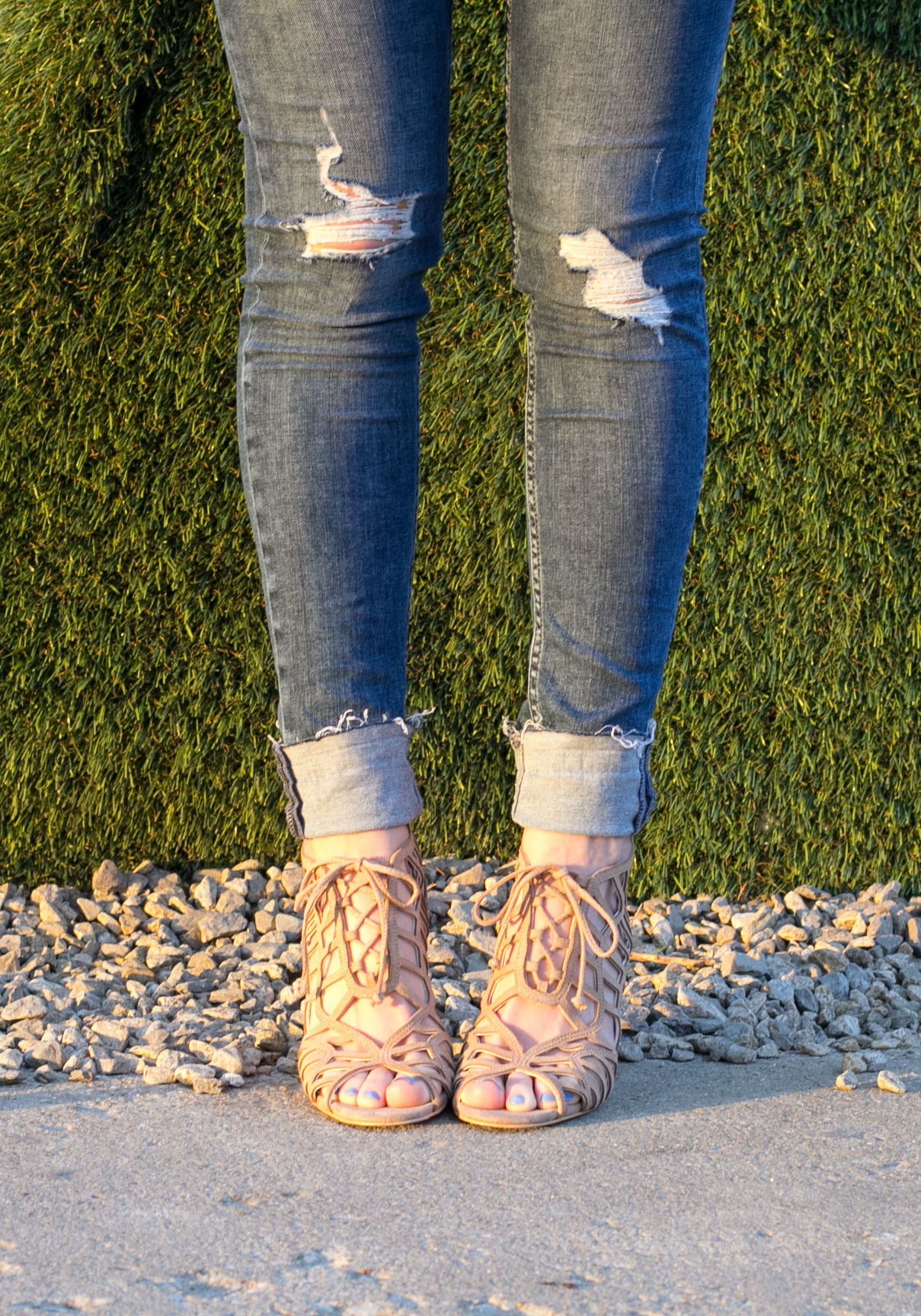 Raw Edge Skinny Jeans, Dolce Vita Caged Sandals