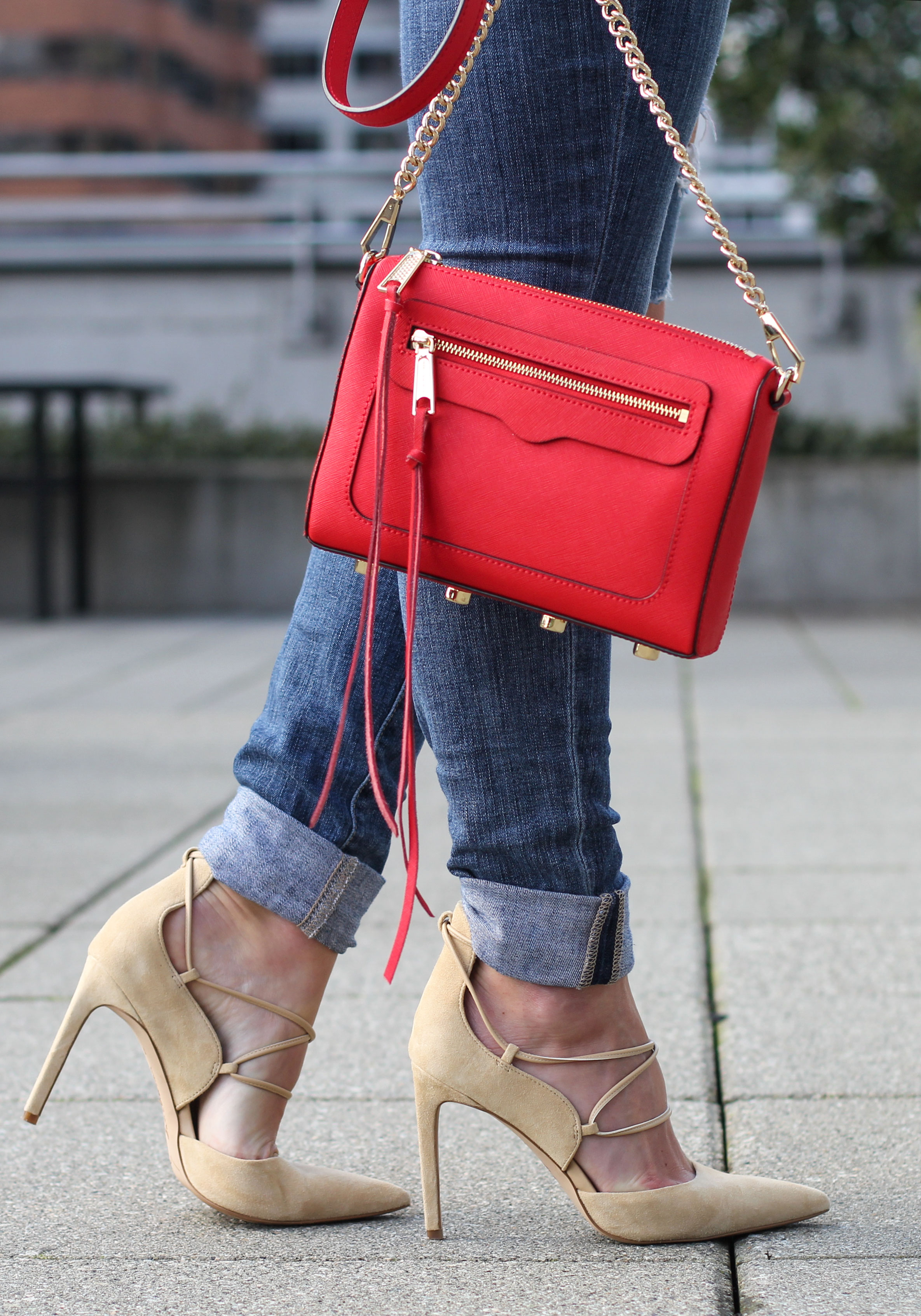 Destroyed Joe's Jeans, Instantly Tailor Your Denim To Make Them Shorter, Denim Cuffed, Red Rebecca Minkoff Avery Crossbody