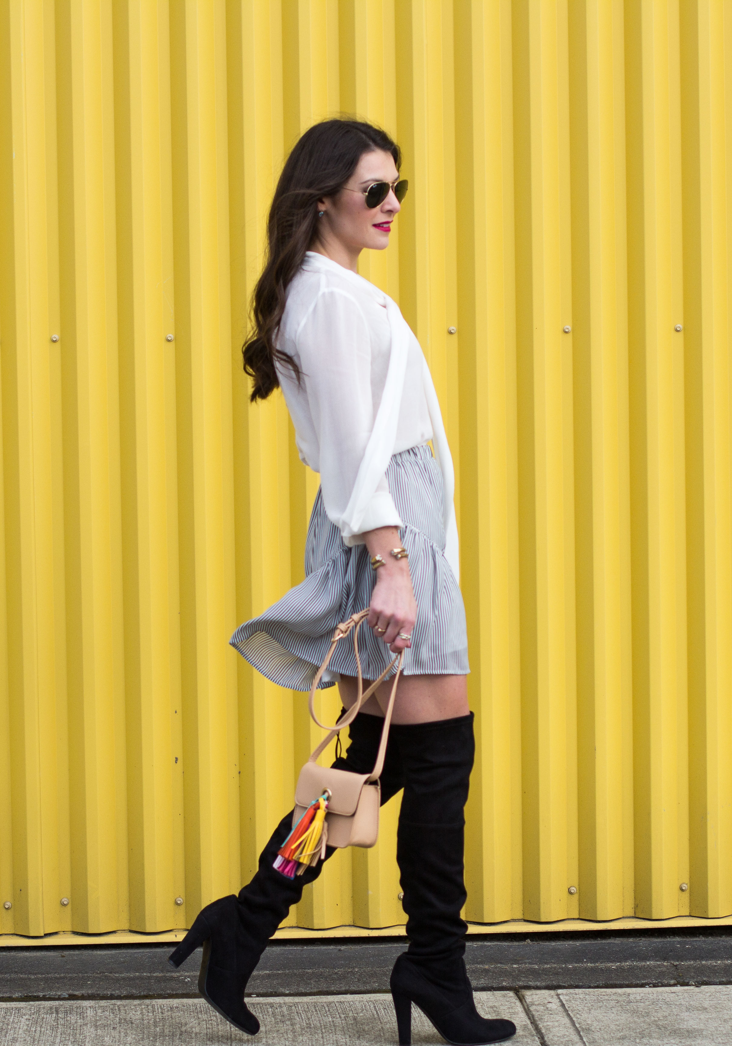 Transition You Wardrobe Into Spring, Steve Madden Gorgeous Boots, Banana Republic Embroidered Trim Mini Skirt, White Bow Blouse, Classic Trench Coat, Rebecca Minkoff Tassel Bag DIY