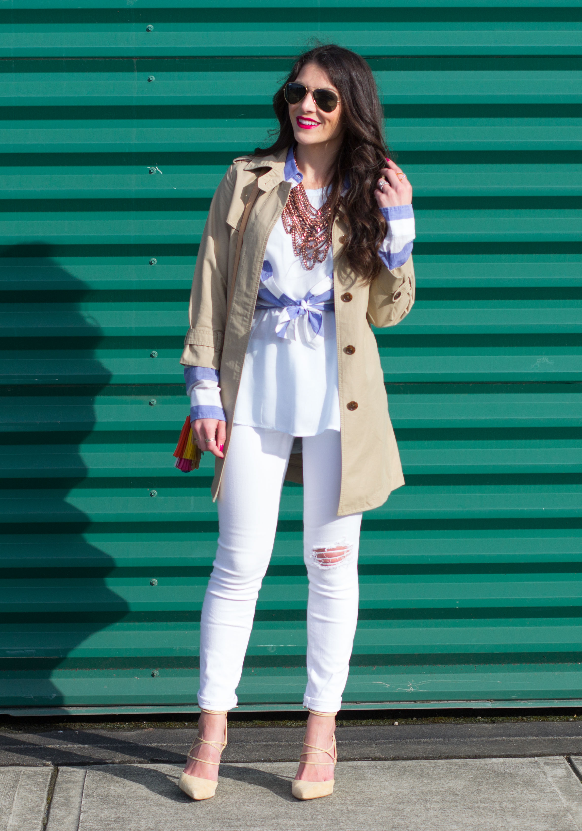 Spring Transitional Outfit, Banana Republic Trench Coat, Blue and White Stripe Shirt, High Low Layering Tank, Baublebar Courtney Bib Necklace, Destroyed White Skinny Jeans, and Sam Edelman Dayna Lace-Up Pumps