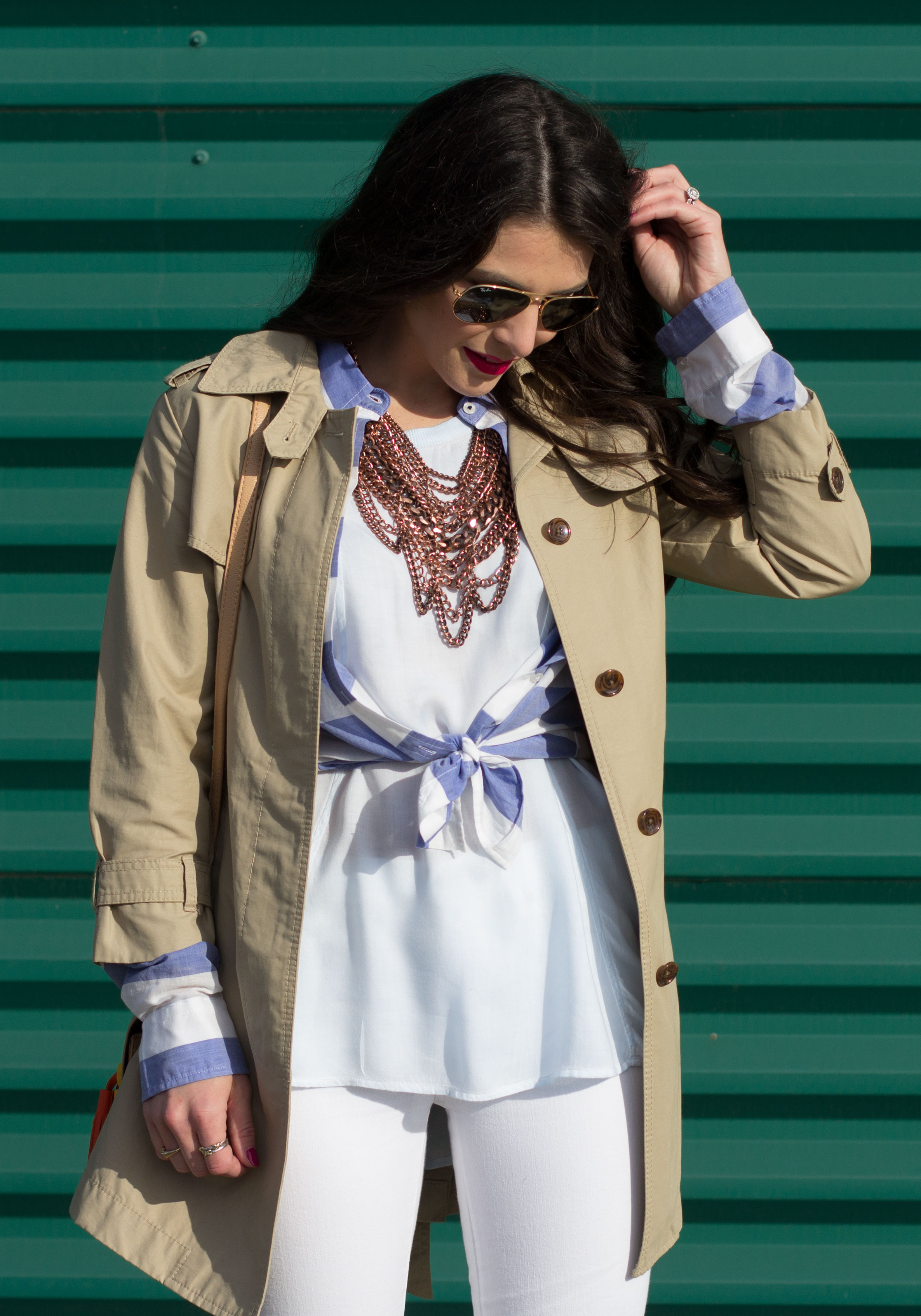 Spring Transitional Outfit, Banana Republic Trench Coat, Blue and White Stripe Shirt, High Low Layering Tank, Baublebar Courtney Bib Necklace, Destroyed White Skinny Jeans, and Sam Edelman Dayna Pumps