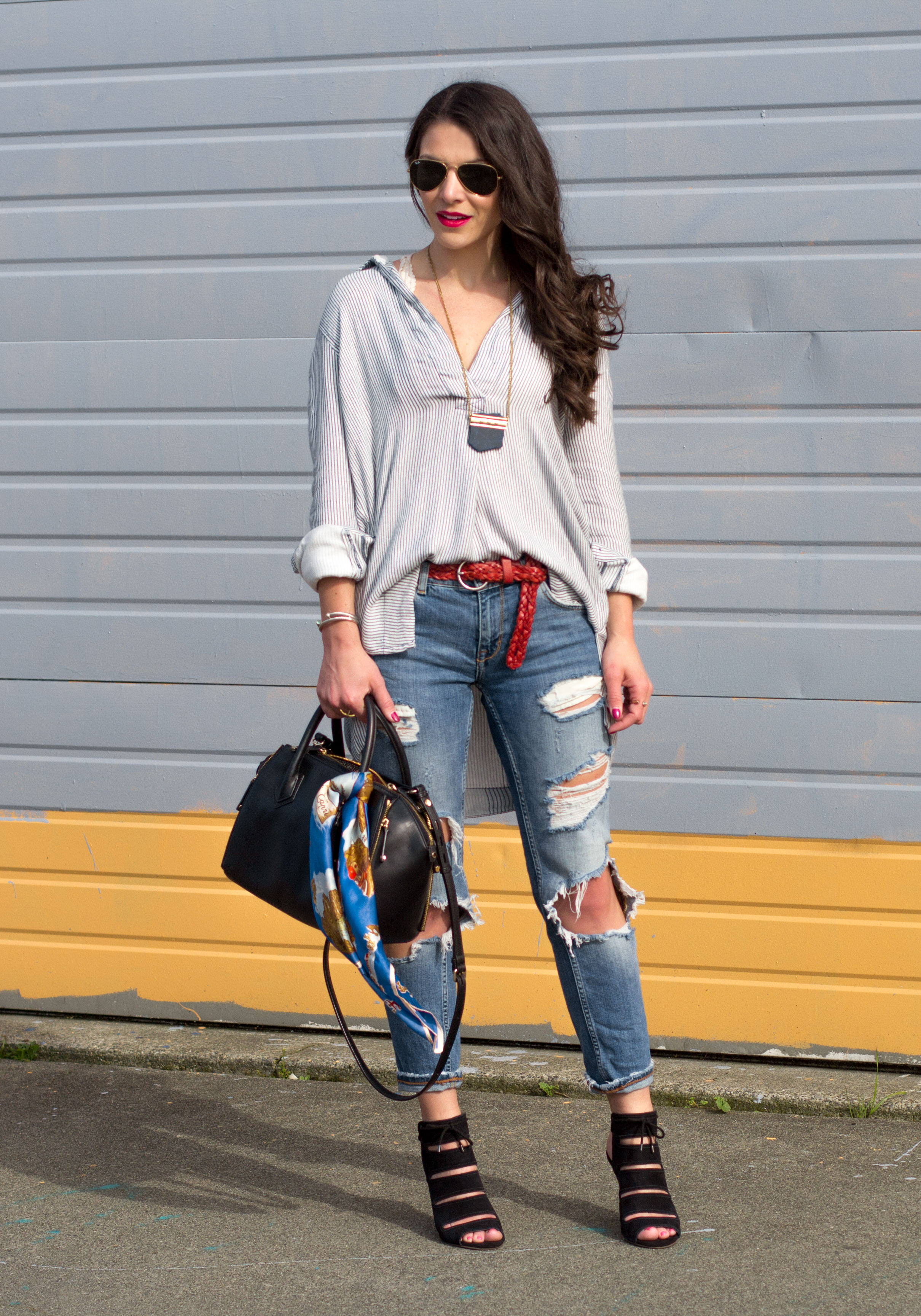Free People Striped On The Road Shirt, Zara Destroyed Denim, Seychelles Caged Sandals, Rebecca Minkoff Avery, Lucky Brand Lapis Necklace, Seattle Fashion Blogger