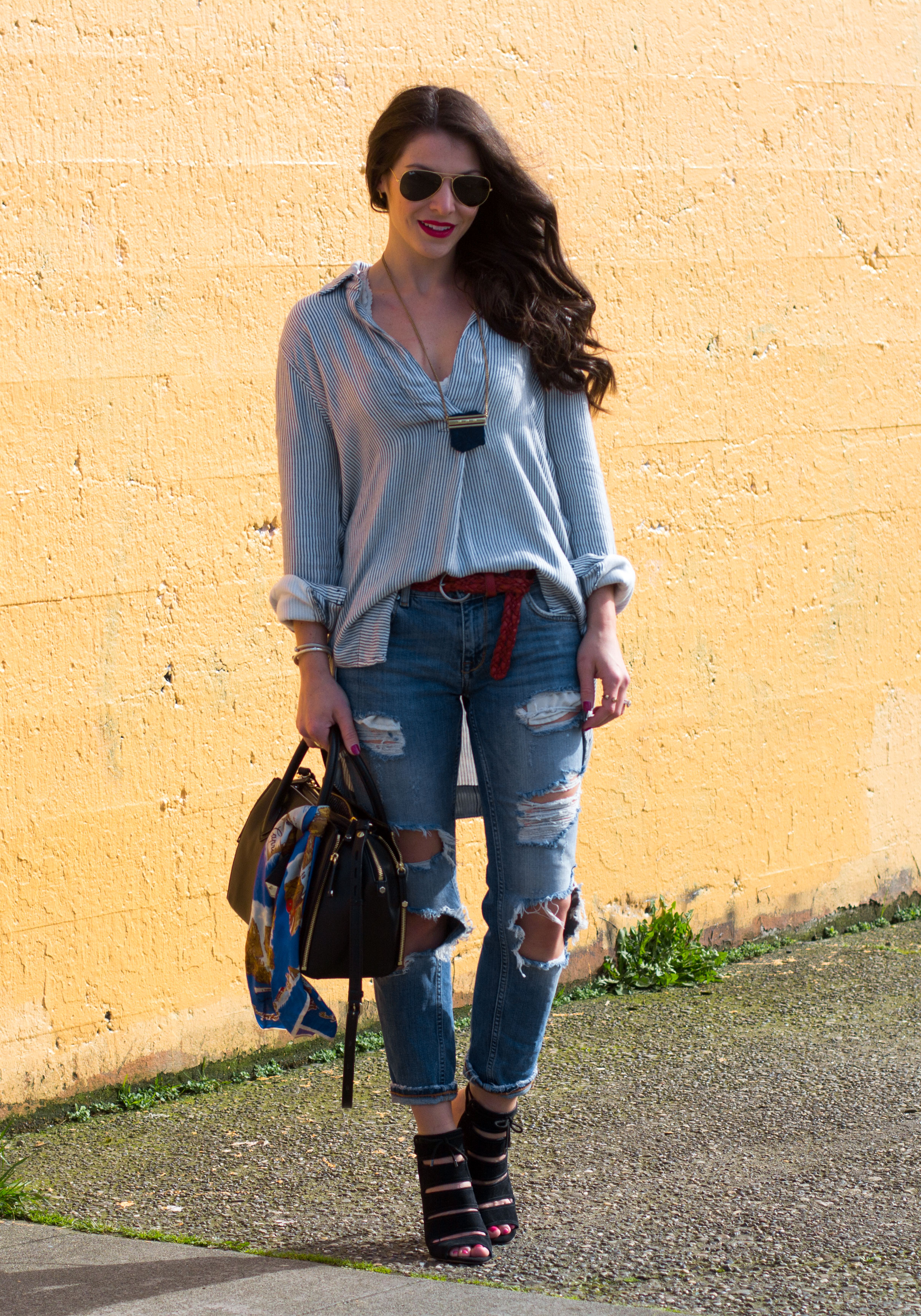 Free People Striped On The Road Shirt, Zara Destroyed Denim, Seychelles Caged Sandals, Rebecca Minkoff Avery, Lucky Brand Lapis Necklace, Canadian Tuxedo, All Denim Outfit