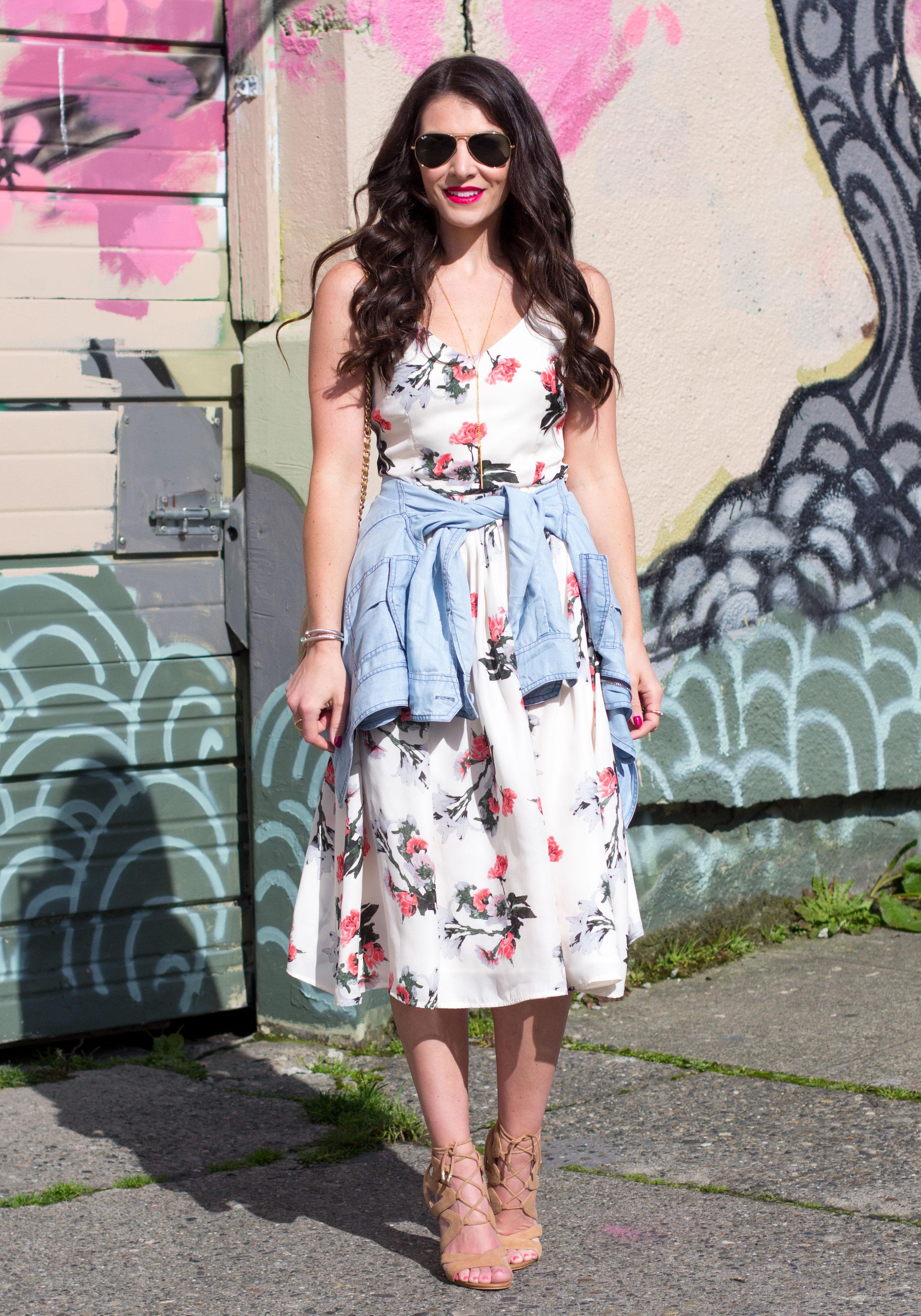 Easter Dress, BB Dakota Emeli Floral Print Midi Dress & Romy Jacket, Sam Edelman Yardley Sandals, Vintage Chanel Bag