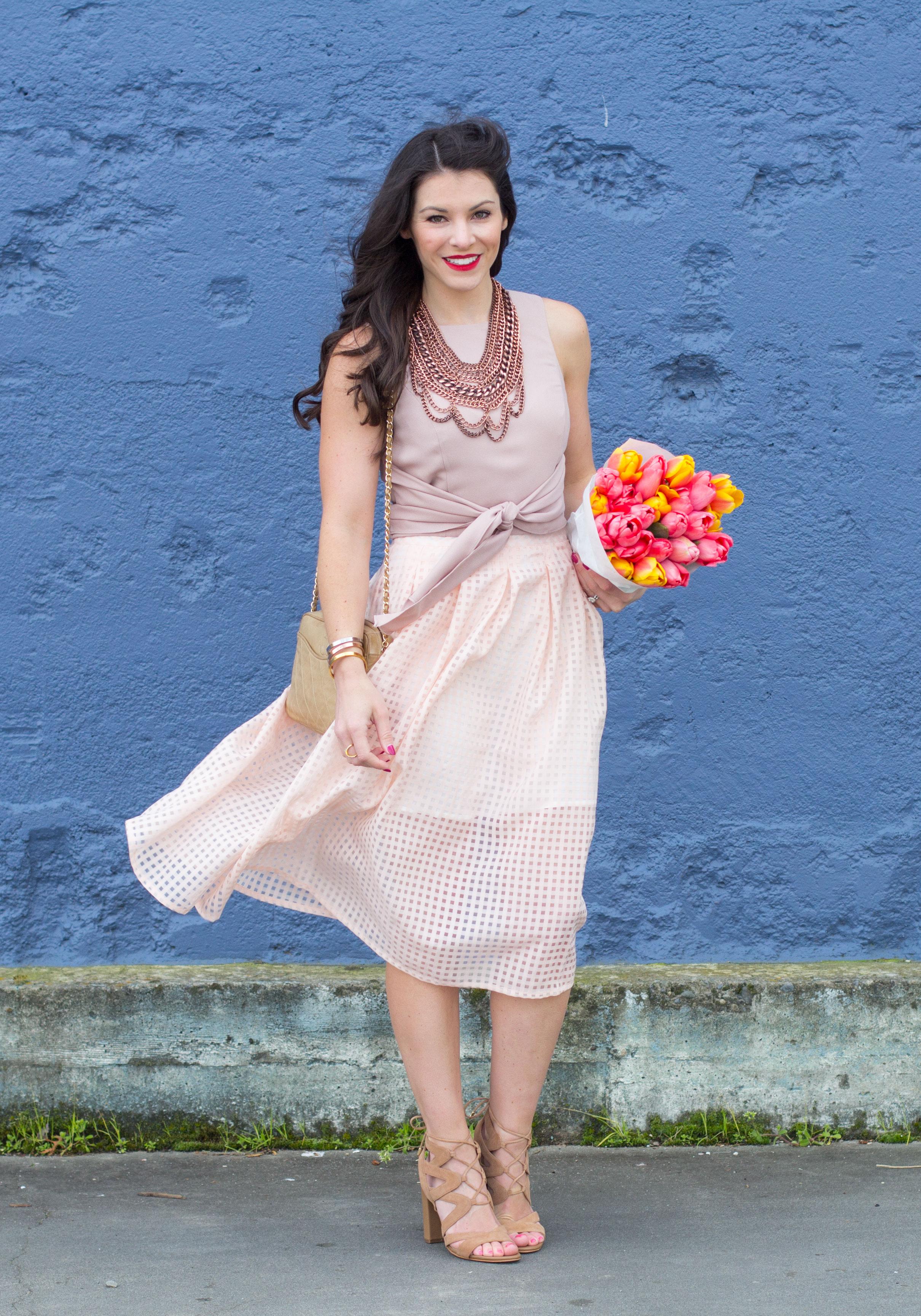 Midi Skirt Outfit, Crop Top With Midi Skirt, Baublebar Courtney Bib Necklace, Vintage Chanel Handbag, Green Drape Front Jacket, Sam Edelman Yardley Sandals, Spring Outfit