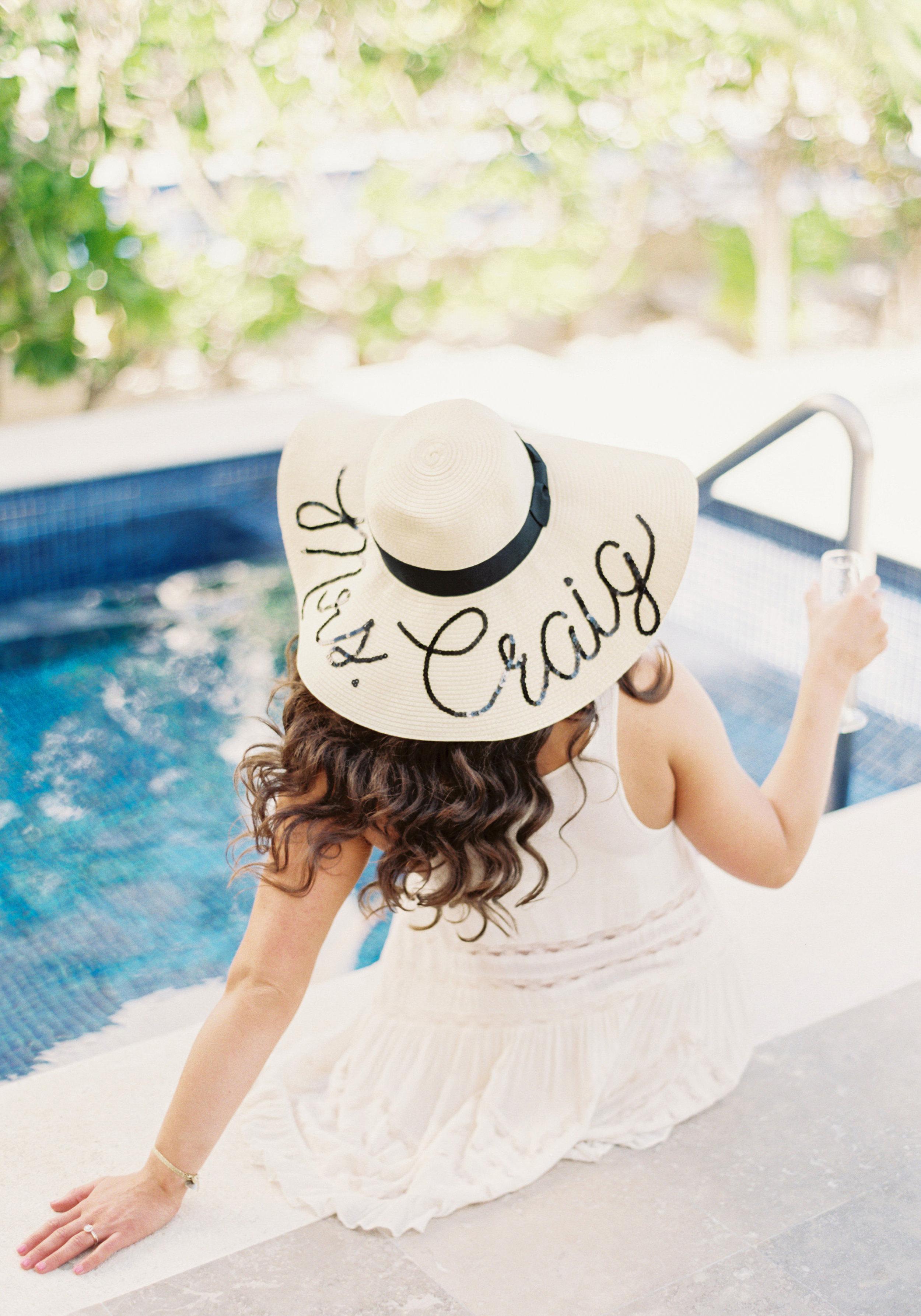 Destination wedding, DIY Eugenia Kim Wish You Were Here Hat.  Beach Bride