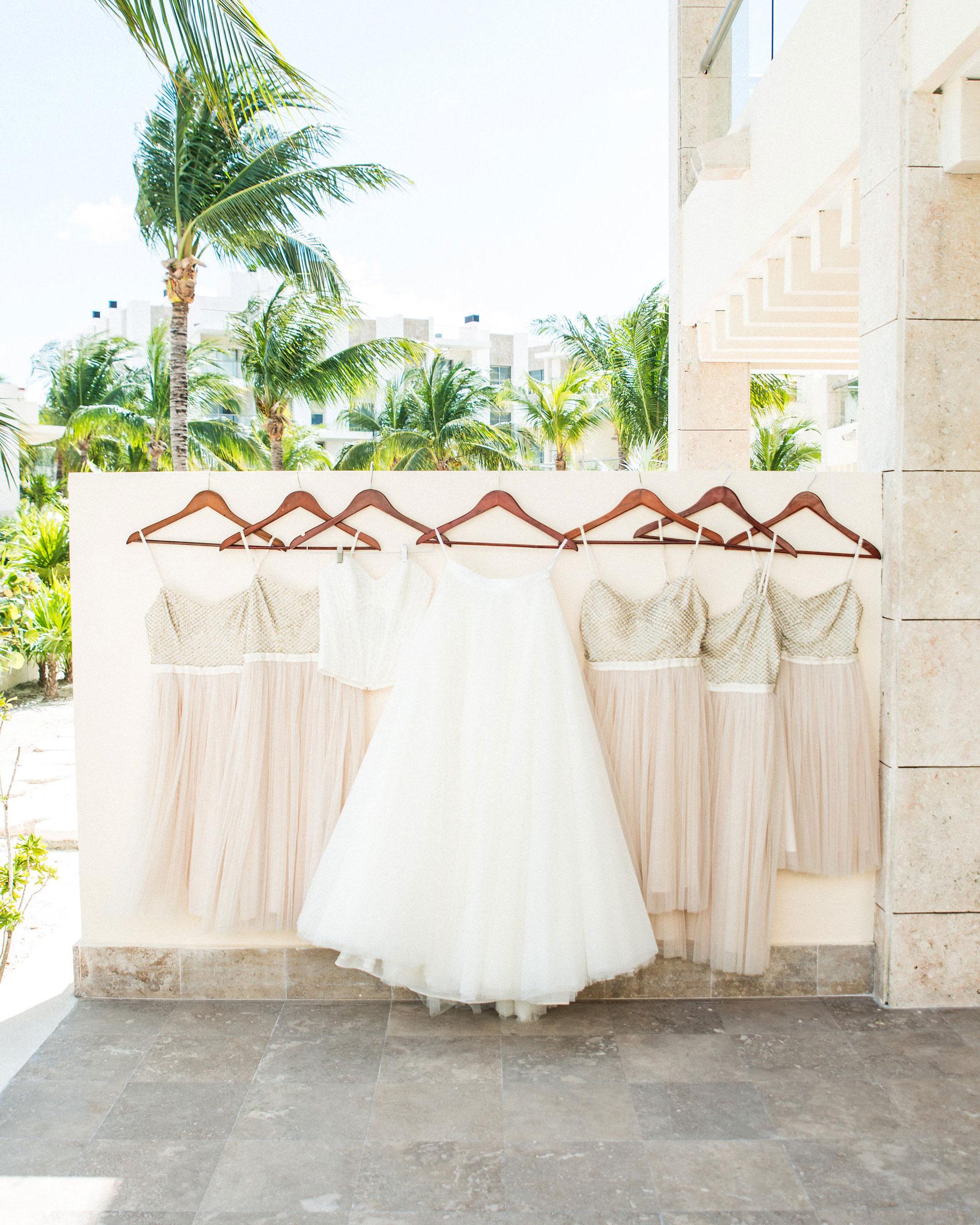 Destination wedding, Bridal separates, Watters Ashan Skirt, Watters corset top, BHLDN Coppelia Bridesmaid dress.