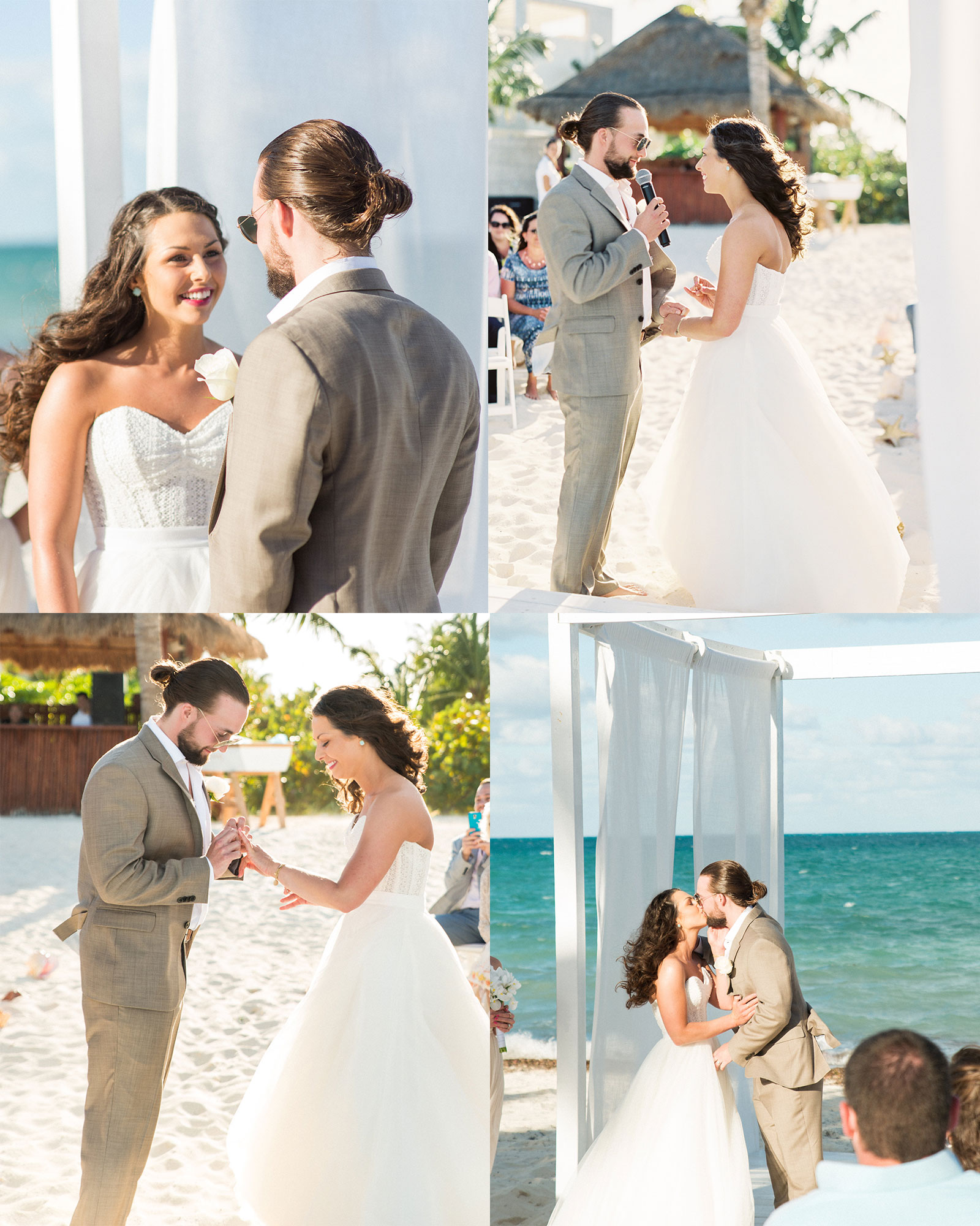Destination wedding on the beach in Mexico, Bridal Separates, Watters Ashan skirt.