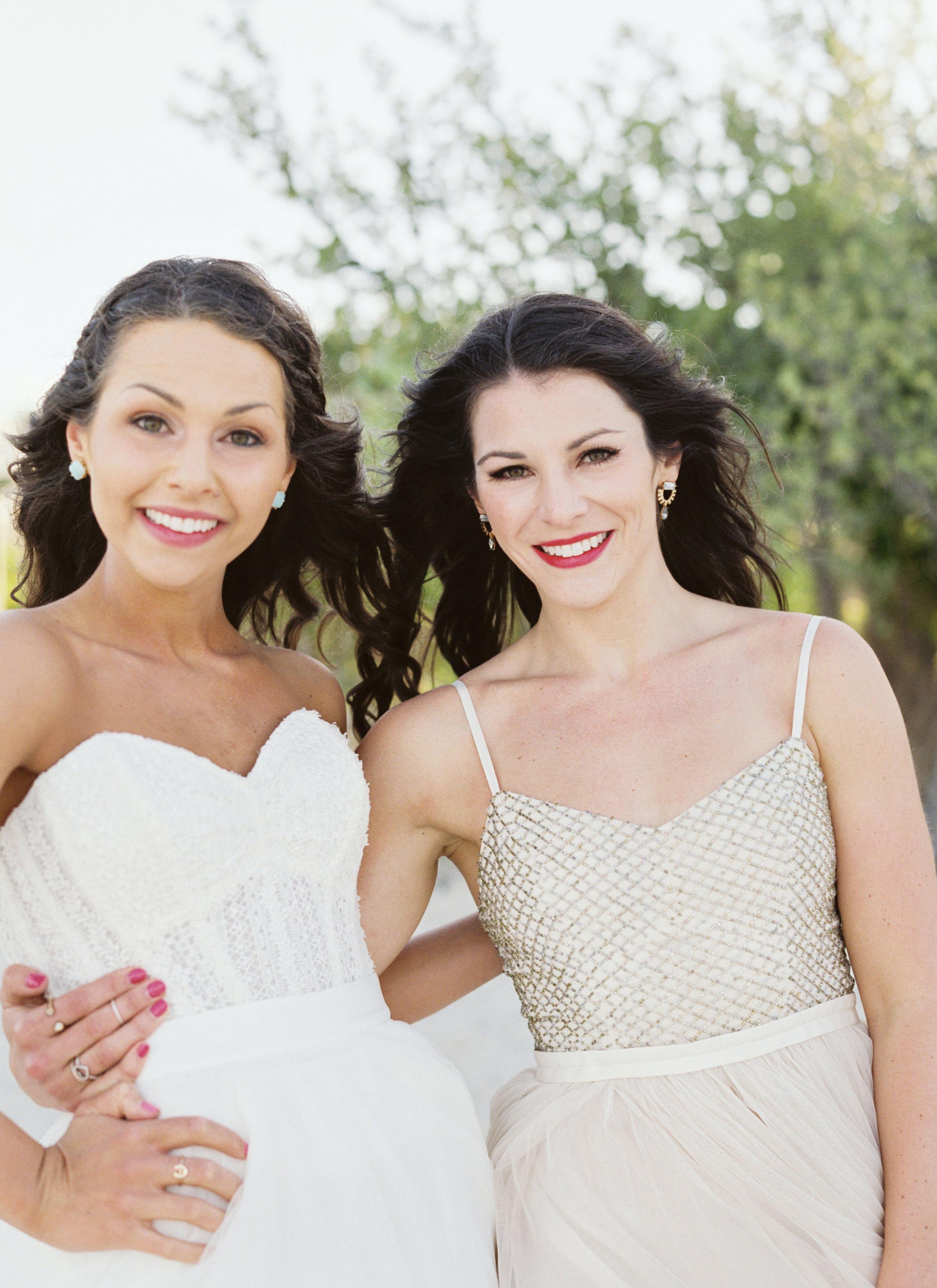 Destination wedding in Mexico, Bride and Bridesmaids, Bridal Separates, Coppelia Dress, Beach Wedding.
