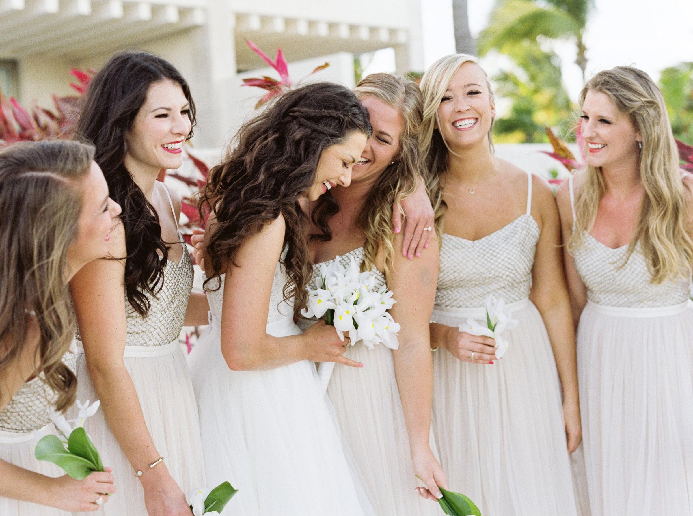 Destination wedding in Mexico, Bride and Bridesmaids, Bridal Separates, Coppelia Dress, Beach Wedding, Watters Ashan Skirt.