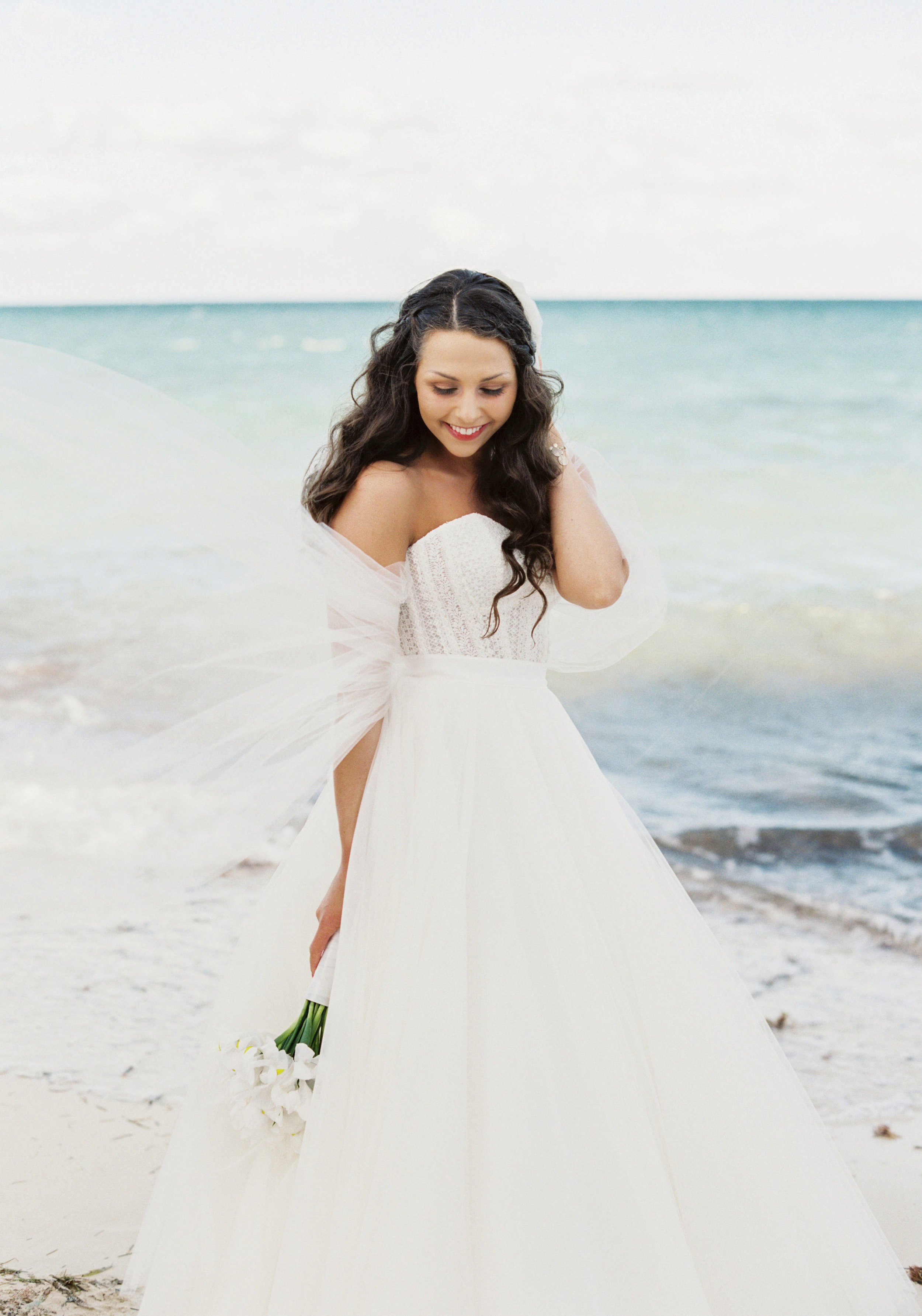 Bride & Groom in Mexico, destination wedding on the beach, Bridal separates, Watters Ashan skirt, Bride with hair down.