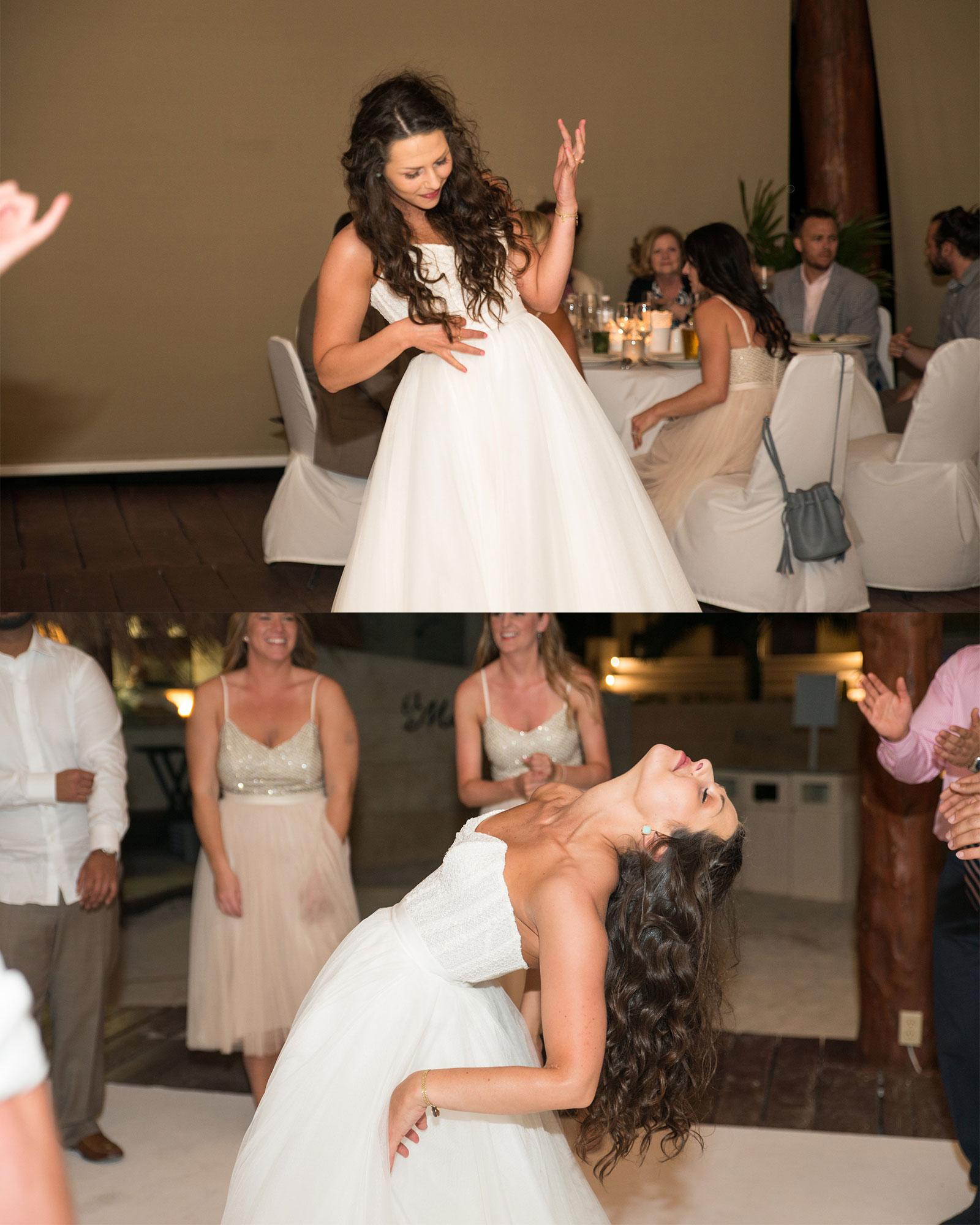 Bridal separates, dancing bride, epic electric guitar, Watters Ashan skirt and Carina corset.