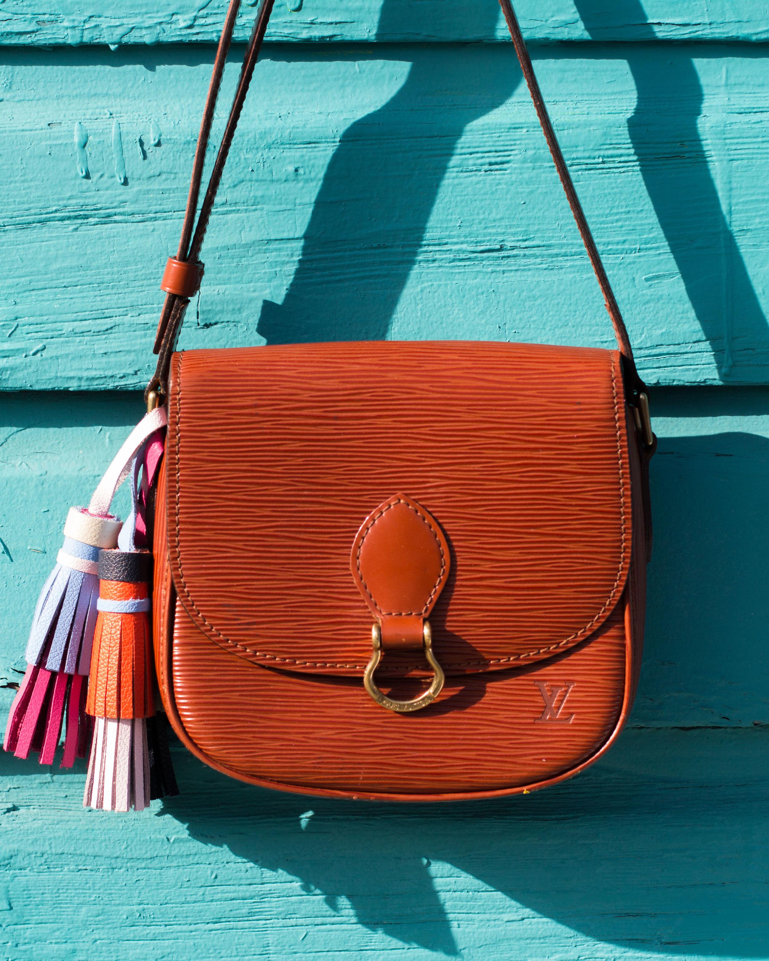 DIY Tory Burch leather tassel key fobs.  Vintage Louis Vuitton crossbody.