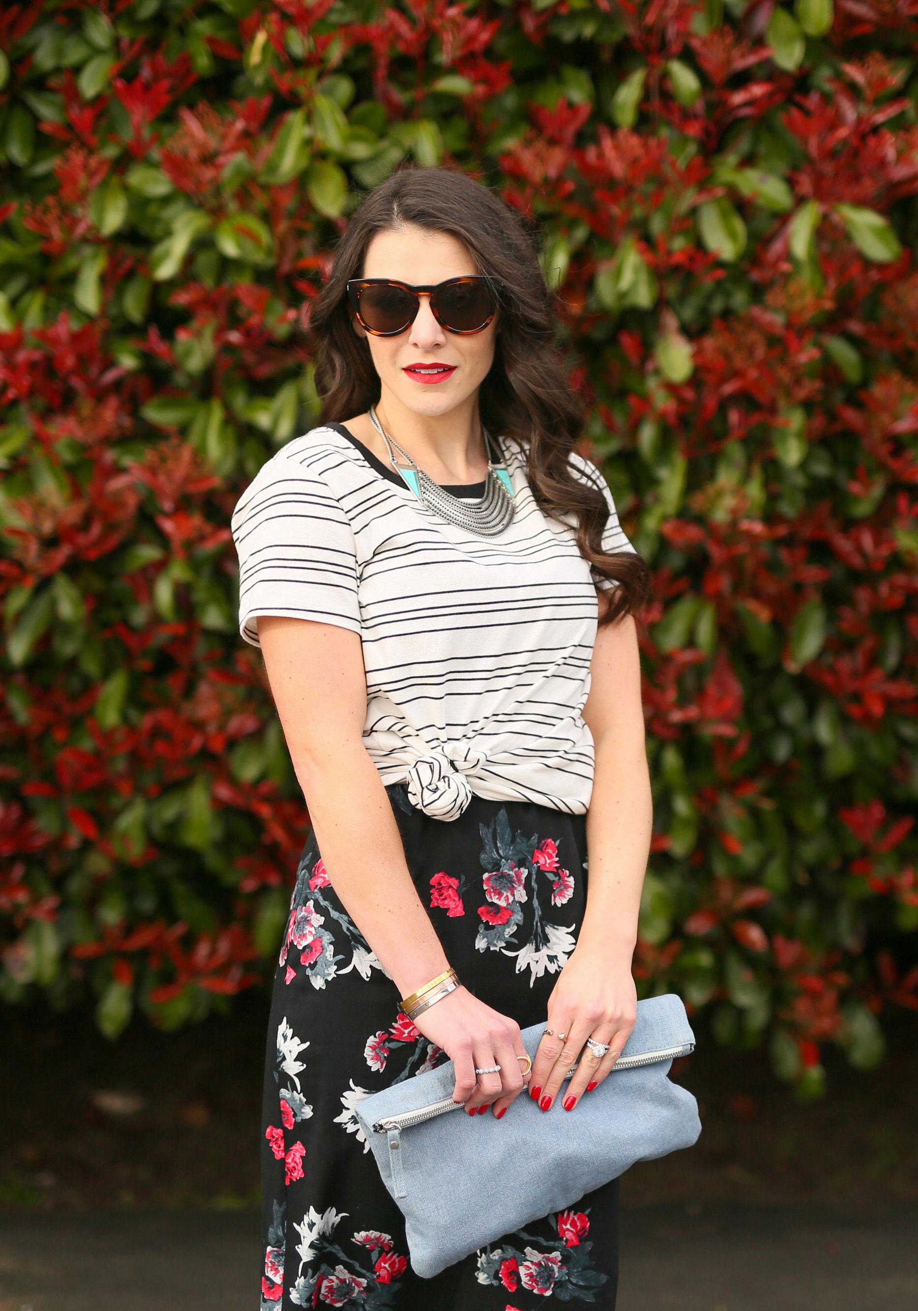 BB Dakota Miriam Floral Midi Dress, T-shirt tied in knot over dress, Mixing Stripes and Floral Prints, Lespecs Jealous Games Sunglasses