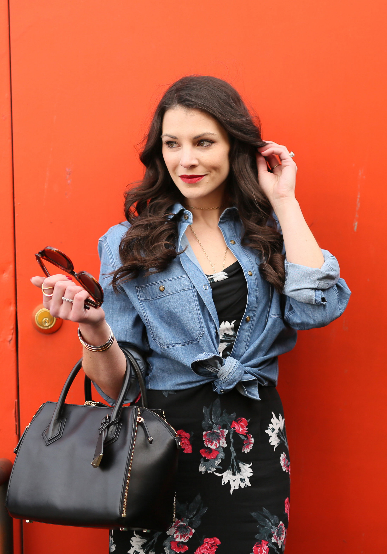 BB Dakota Miriam Floral Midi Dress, Denim Boyfriend Shirt Outfit, Lespecs Jealous Games Sunglasses