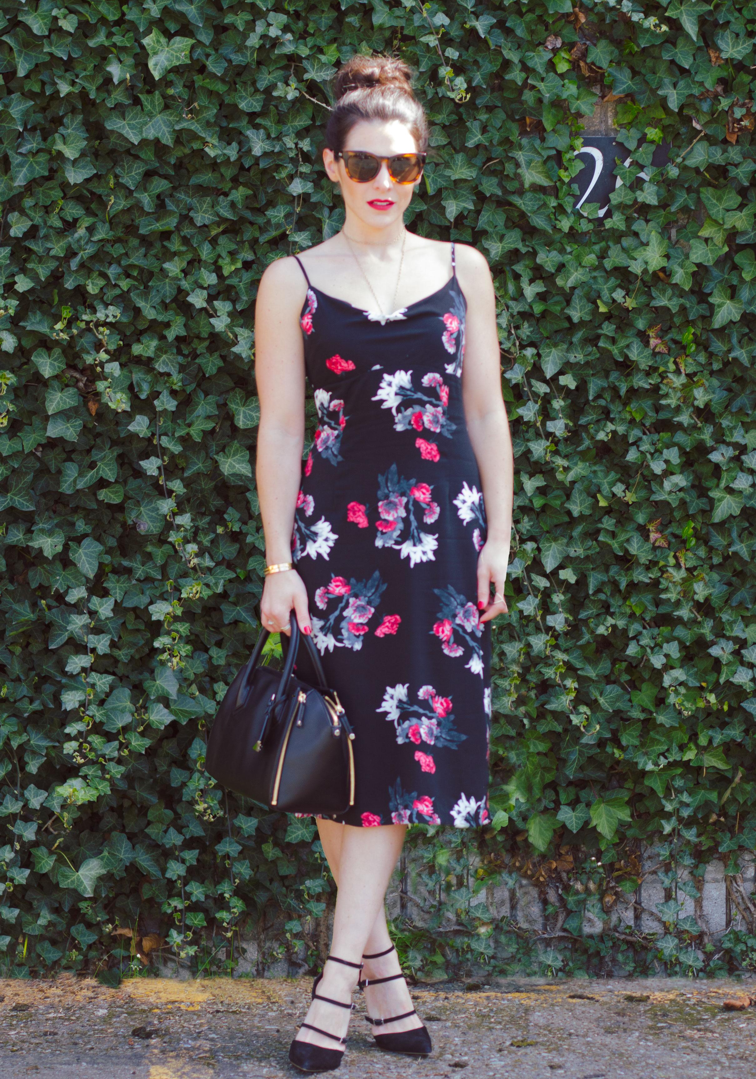BB Dakota Miriam Floral Midi Dress, Topshop Giselle Buckle Sandals, Messy Topknot, Vince Leather Jacket