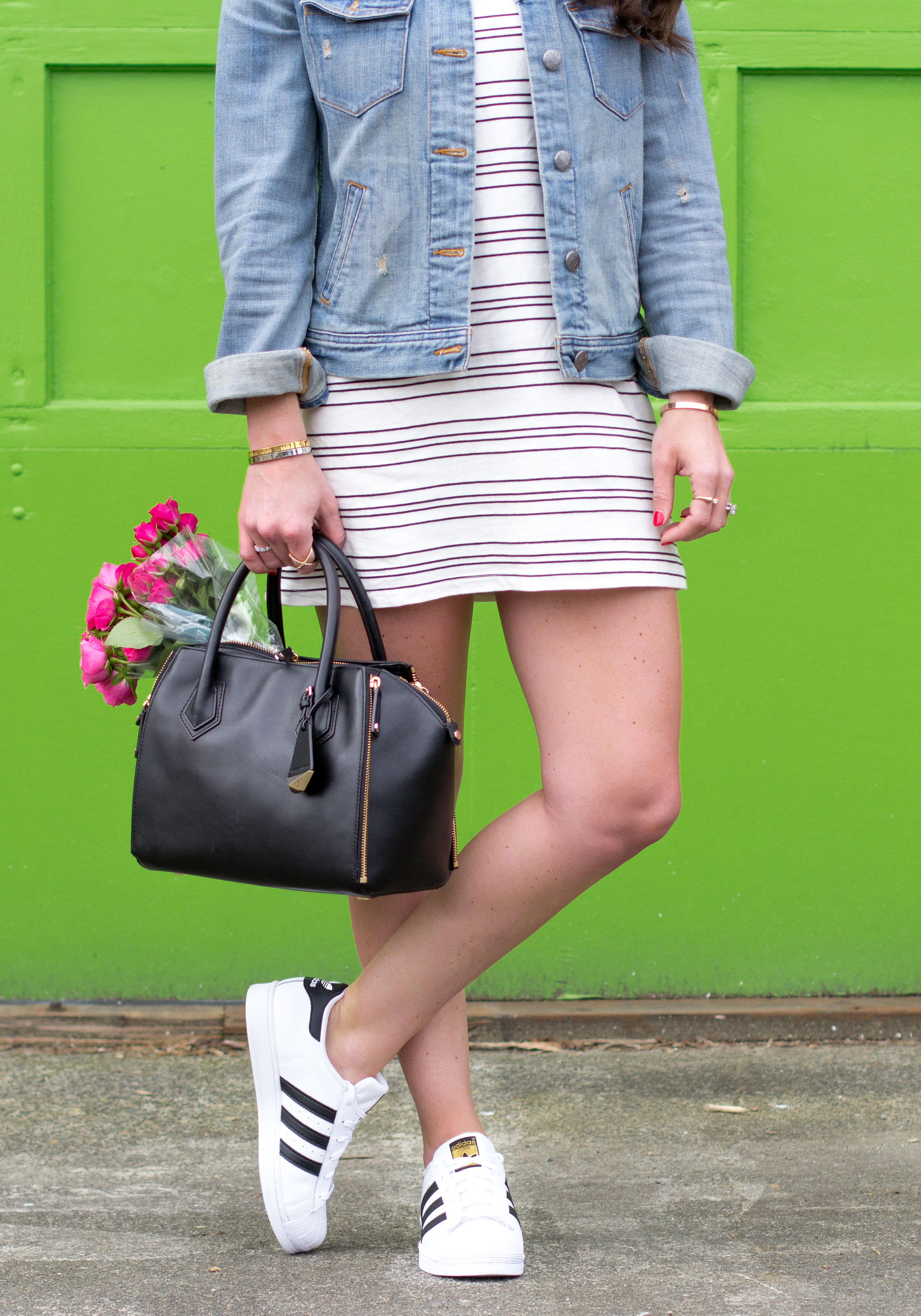 Adidas Superstars with Stripe Dress and J.Crew Denim Jacket.  Casual Weekend Outfit.  How to Wear Sneakers with a Dress.