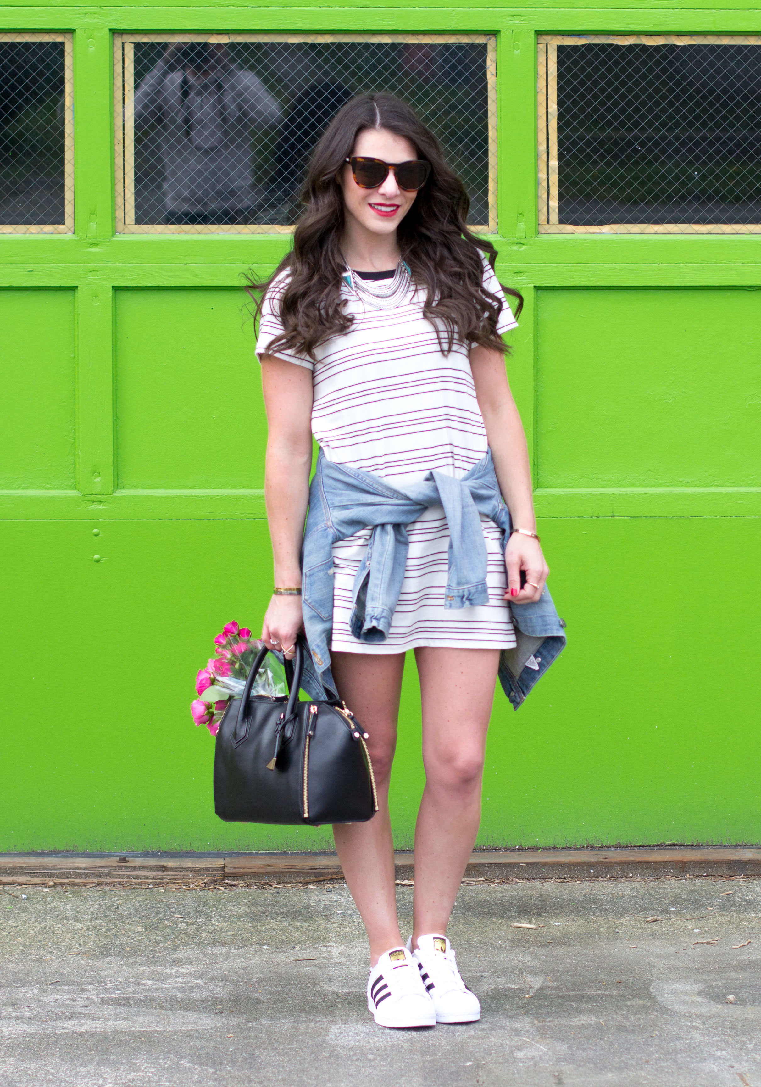 Spring Outfit, Stripe T-shirt Dress with Adidas Originals, Rebecca Minkoff Perry Satchell, and Lespecs Jealous Games Sunglasses.