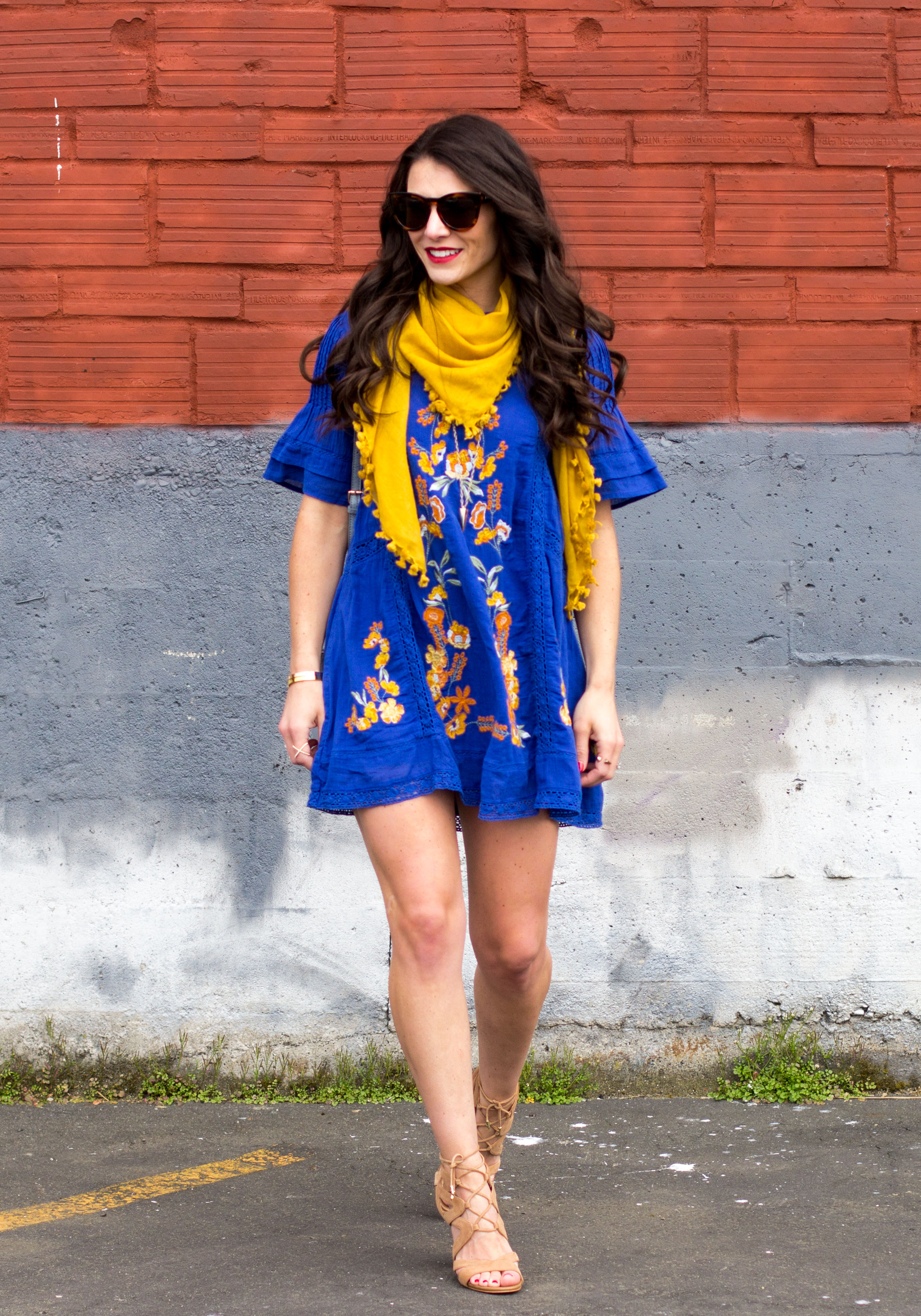 "Free People Victorian Mini Dress, Sam Edelman Yardley Sandals, Lespecs ""Jealous Games"", Blue Bucket Bag, Easy Summer Dress"