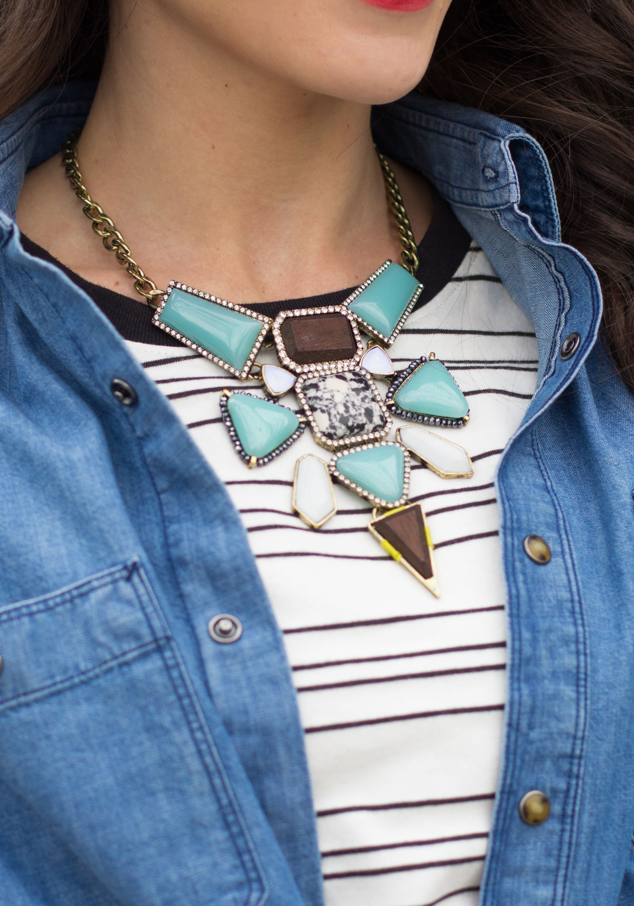 Baublebar Statement Necklace, Stripe Tee, Denim Boyfriend Shirt