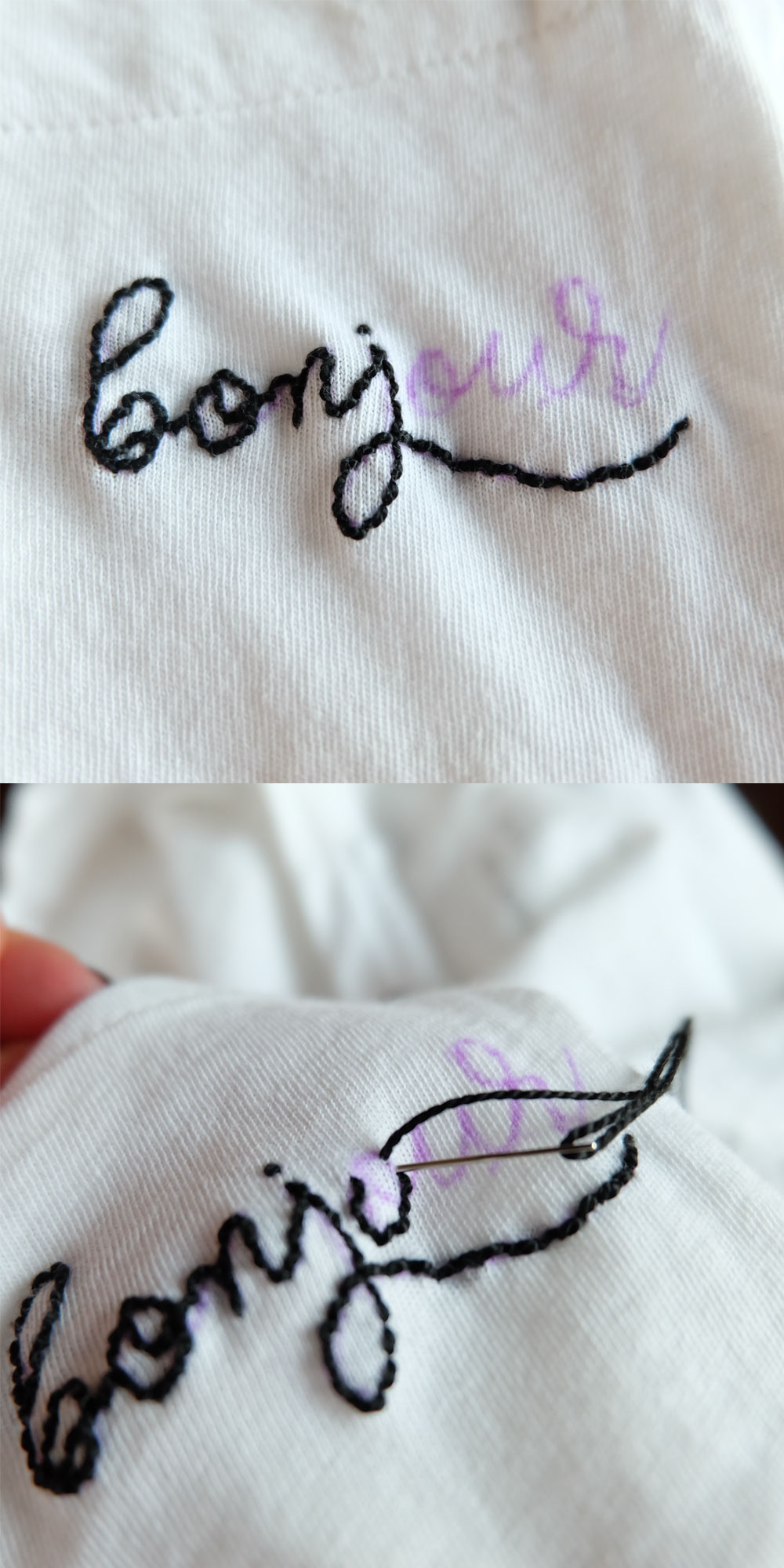 Old Navy Boyfriend Pocket Tee with DIY Embroidered Graphic, Fun Fashion DIY!