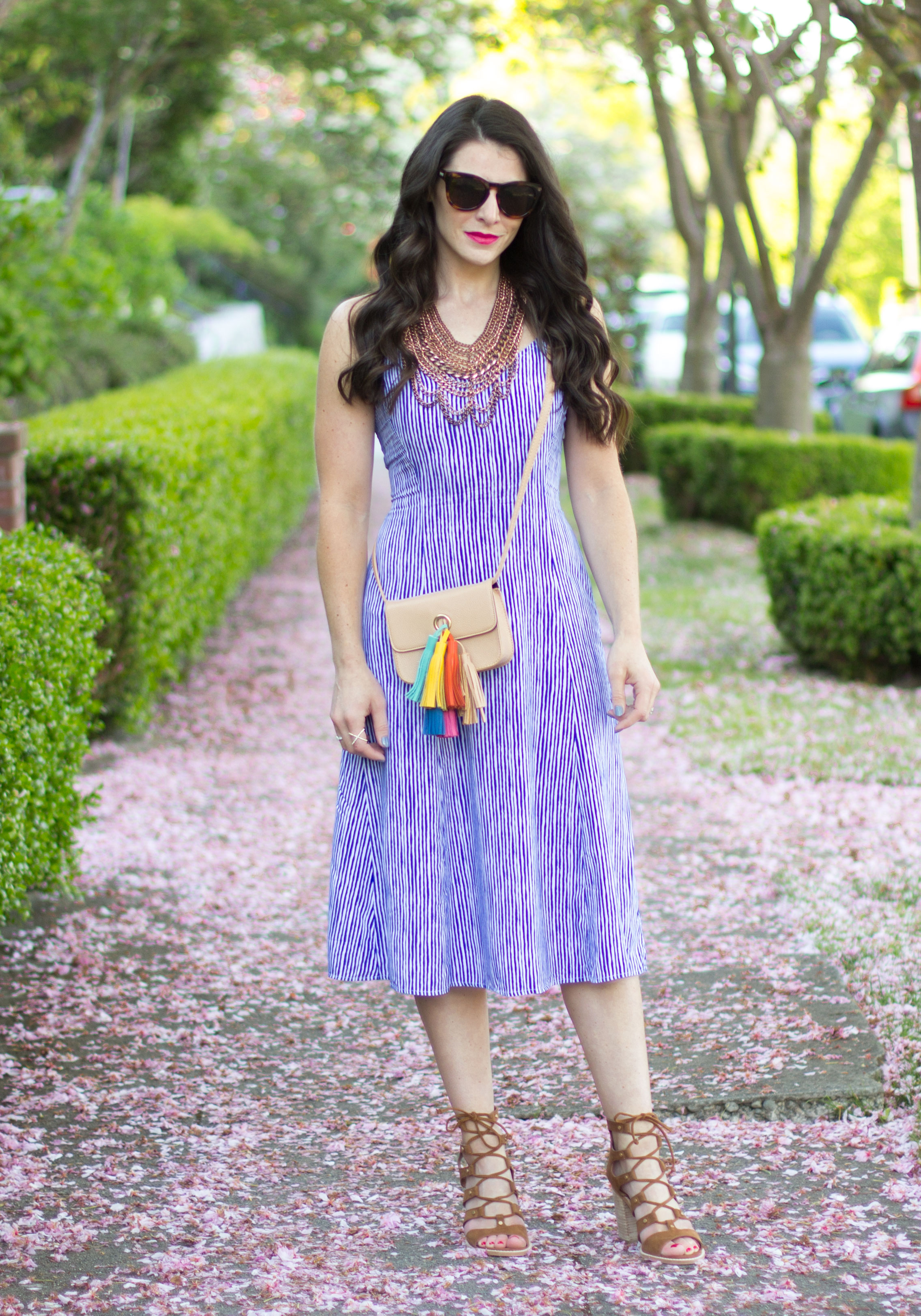 Old Navy cami midi dress, easy summer dress, summer outfit, Rebecca Minkoff Sofia DIY, Sam Edelman Lyndon Sandals, Baublebar Courtney Bib Necklace, LeSpecs Sunglasses