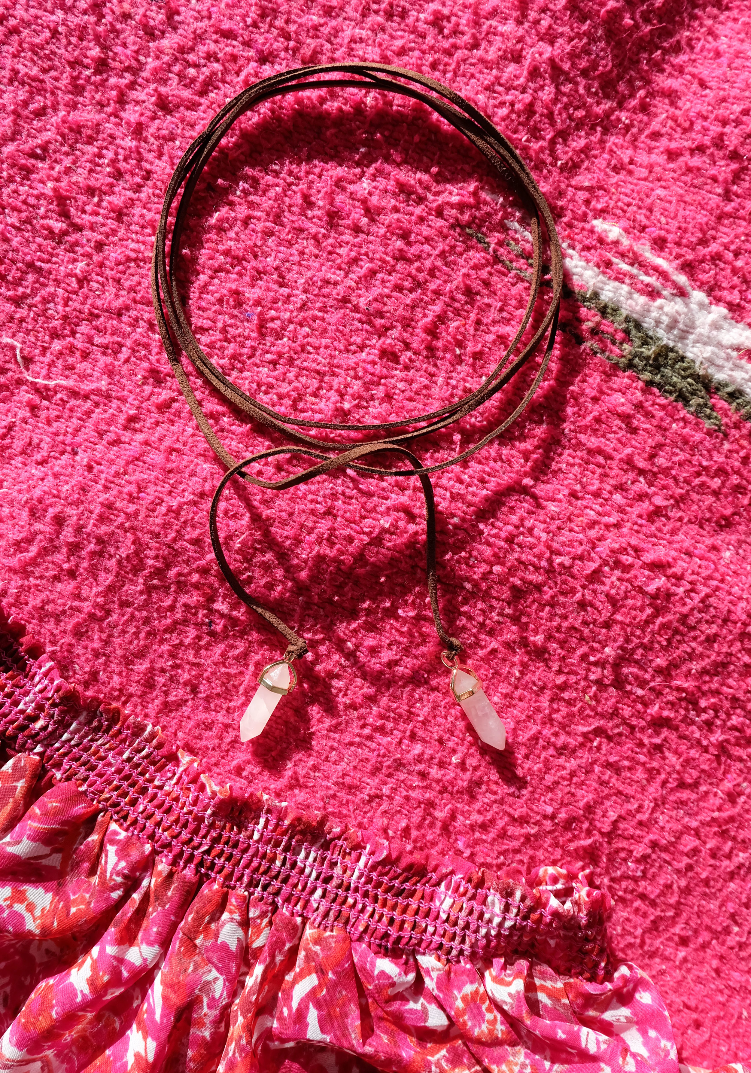 DIY Suede Wrap Choker Necklace With Rose Quartz Crystal Pendant Embellishments, Music Festival Fashion, Summer Trends 2016