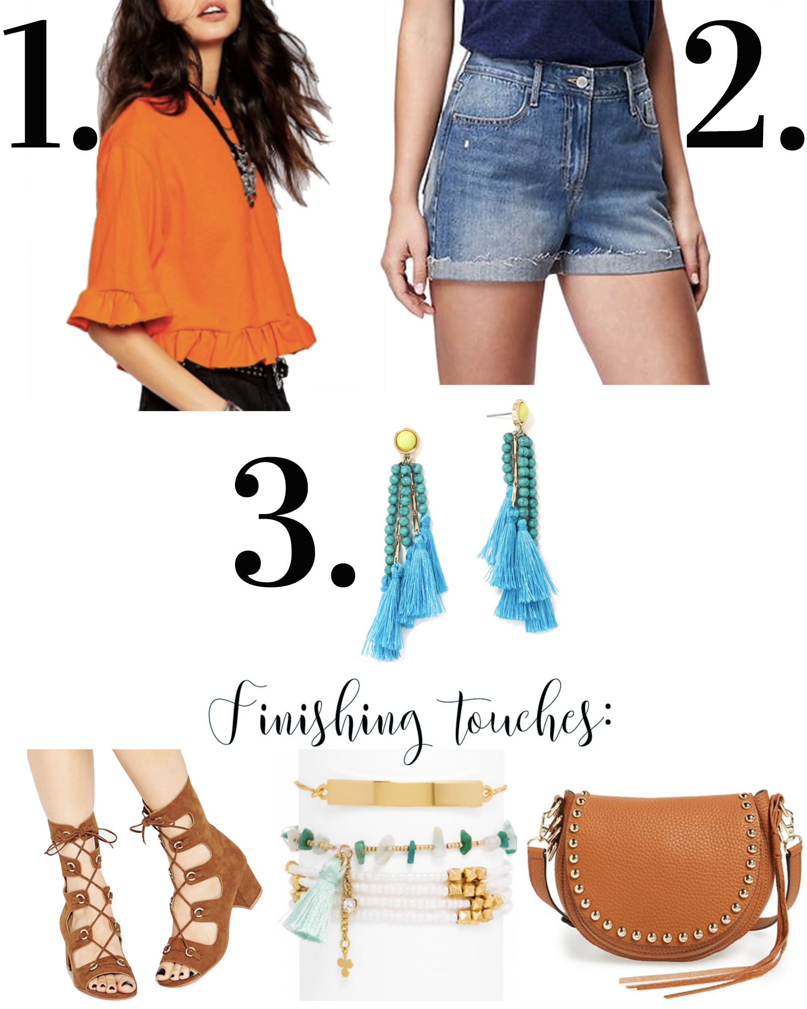 The third piece rule for creating cute summer outfits, tassel earrings, gladiator sandals, high waisted shorts, stacked bracelets, and a Rebecca Minkoff saddle bag.