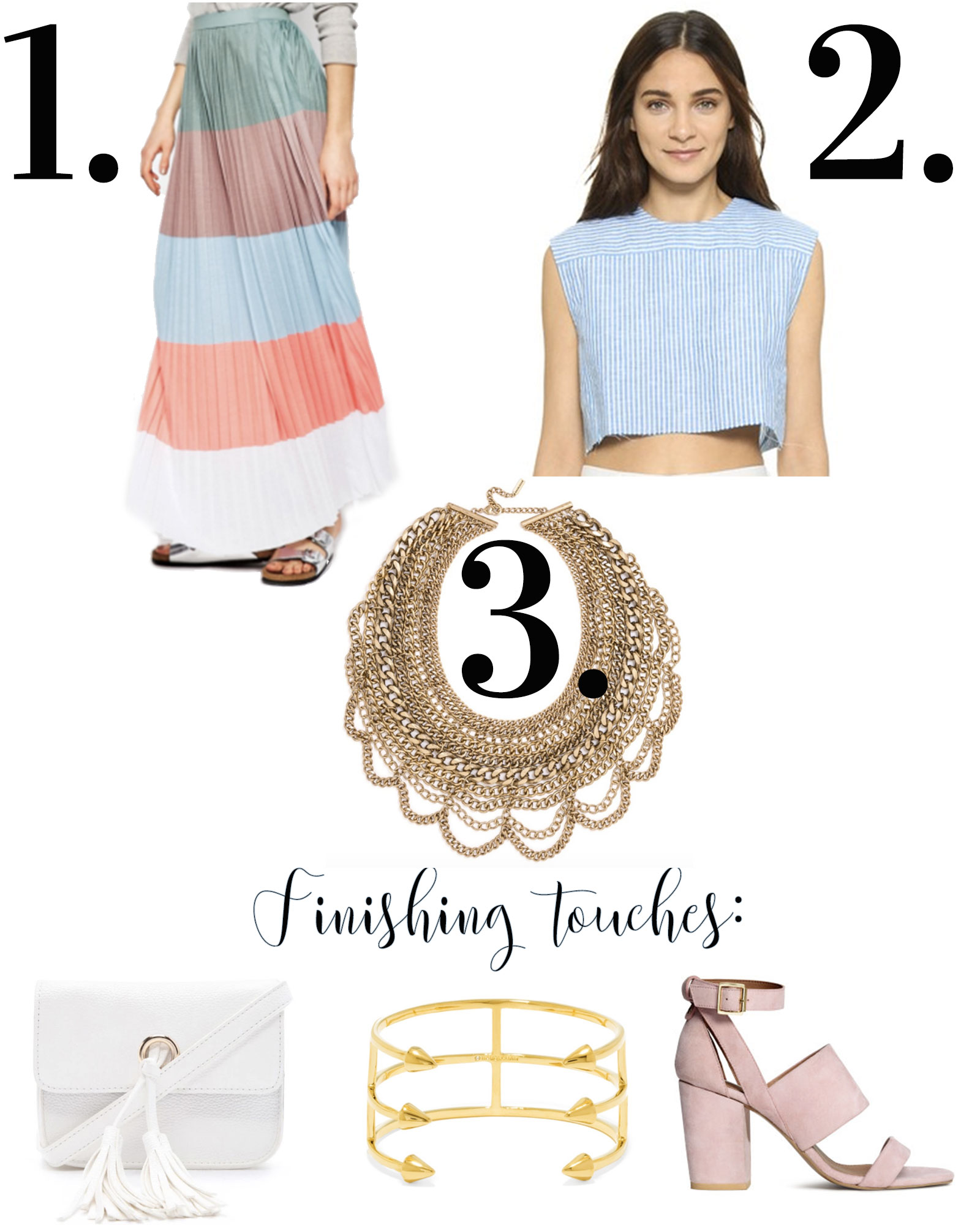 The third piece rule for creating cute summer outfits, maxi skirt outfit, stripe skirt with stripe top outfit.