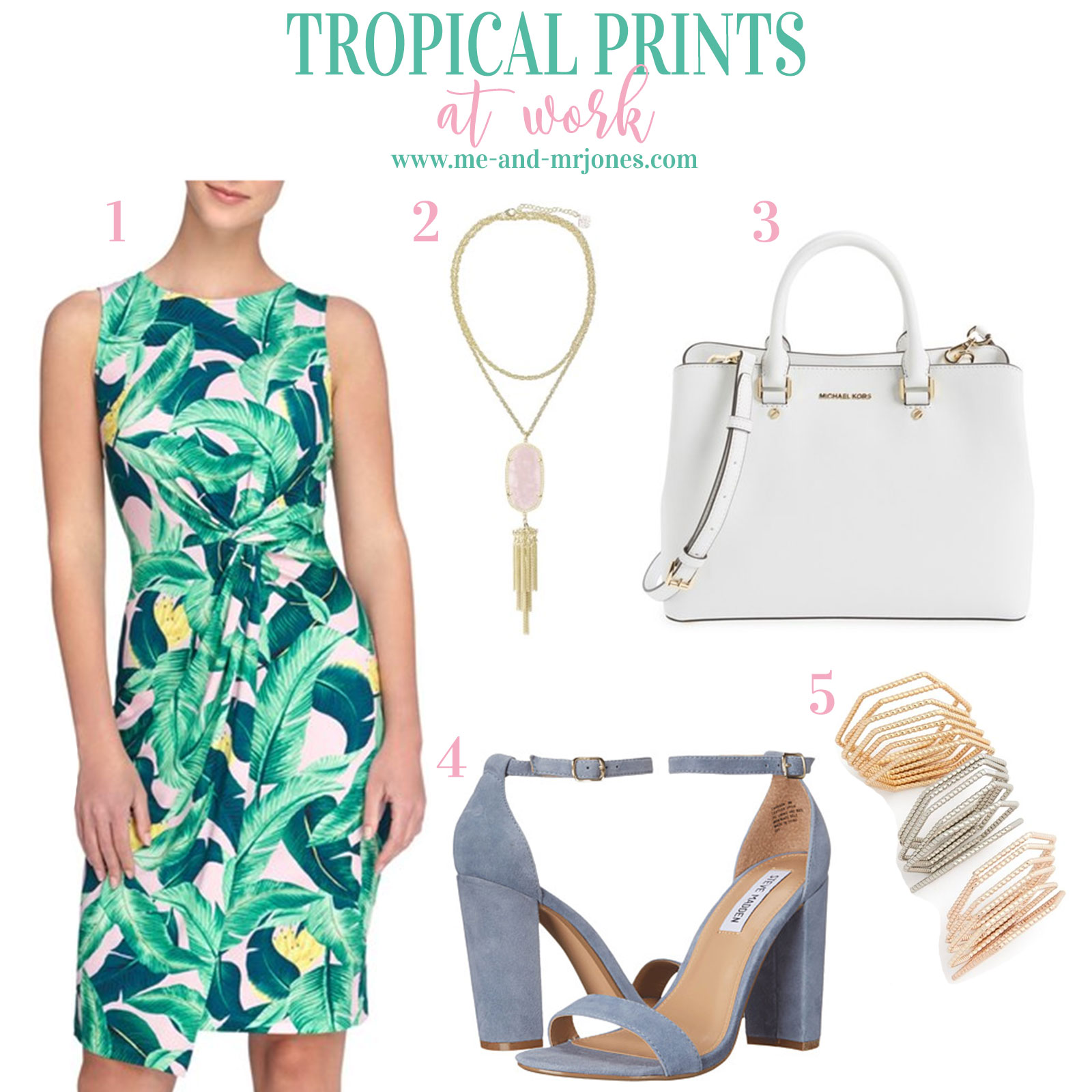 Palm print dress styled for work, cute summer work outfits!