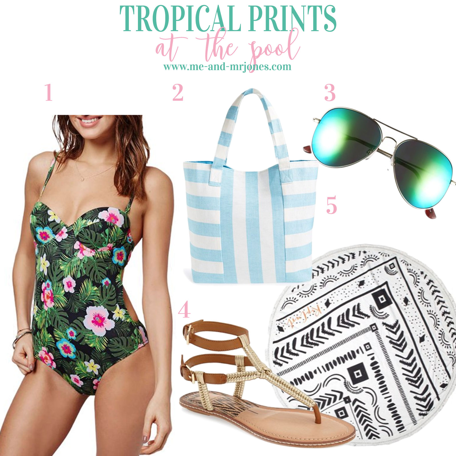 Tropical print one-piece bathing suit, cute summer outfits!