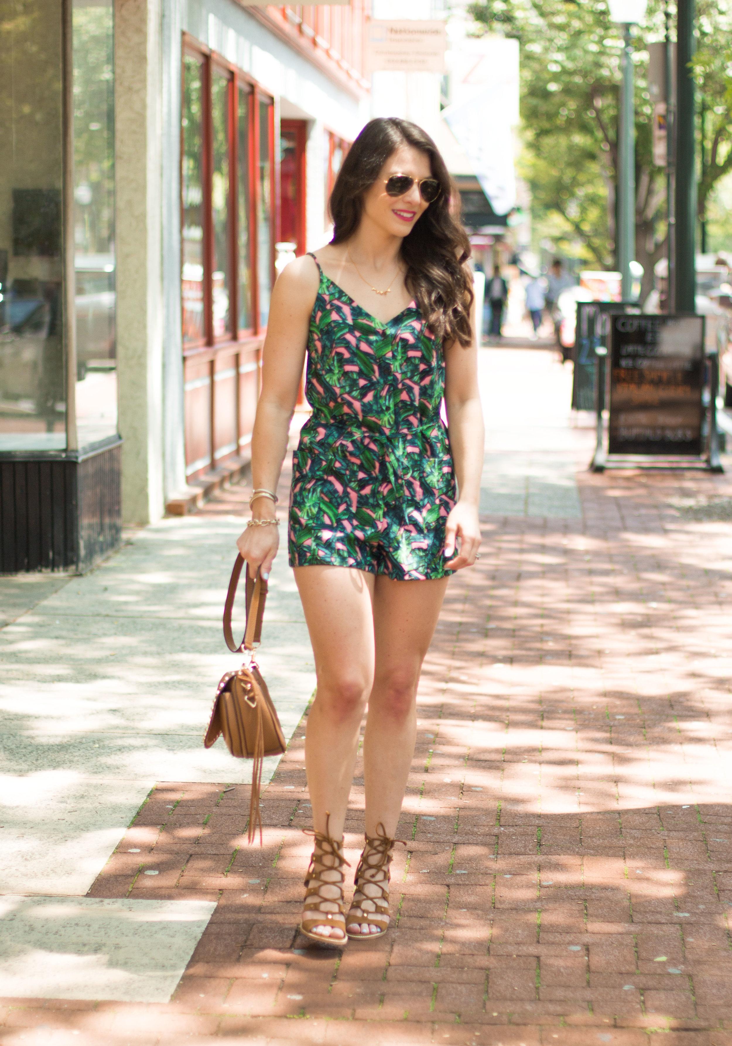 Topshop leaf print romper, Dolce Vita Lyndon sandals, Rebecca Minkoff unlined saddle bag, Ray-ban aviator sunglasses, cute summer outfits!