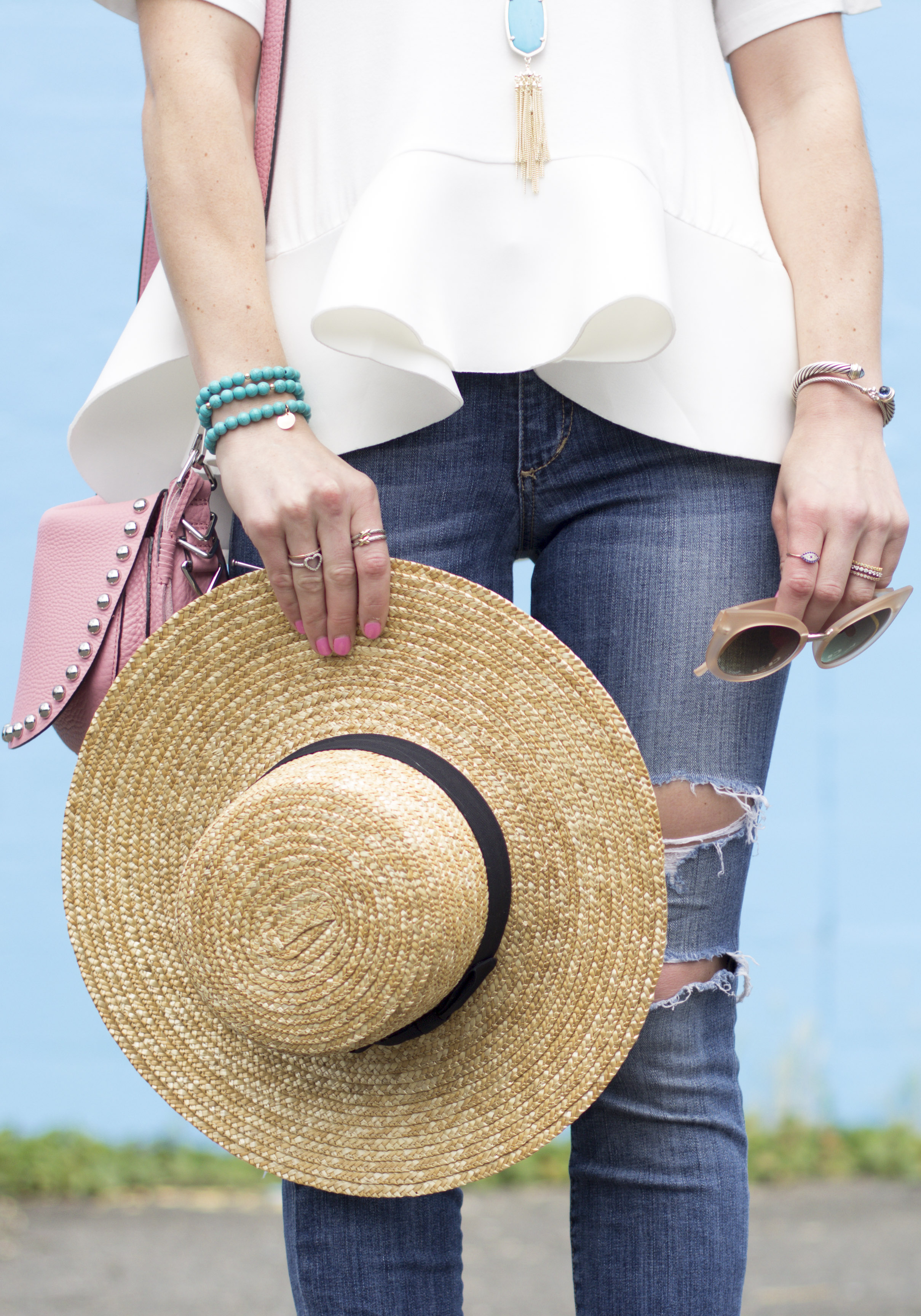 """Flattering T-Shirt for All Body Types, English Factory Flounce Tee, Joe's Jeans """"The Icon"""" Skinny, Rebecca Minkoff Unlined Saddle Bag, San Diego Hat Co Boater Hat, Taudrey Turquoise Bracelets, Steve Madden Rizzaa Sandals, Cute Summer Outfits on Me & Mr. Jones!"""