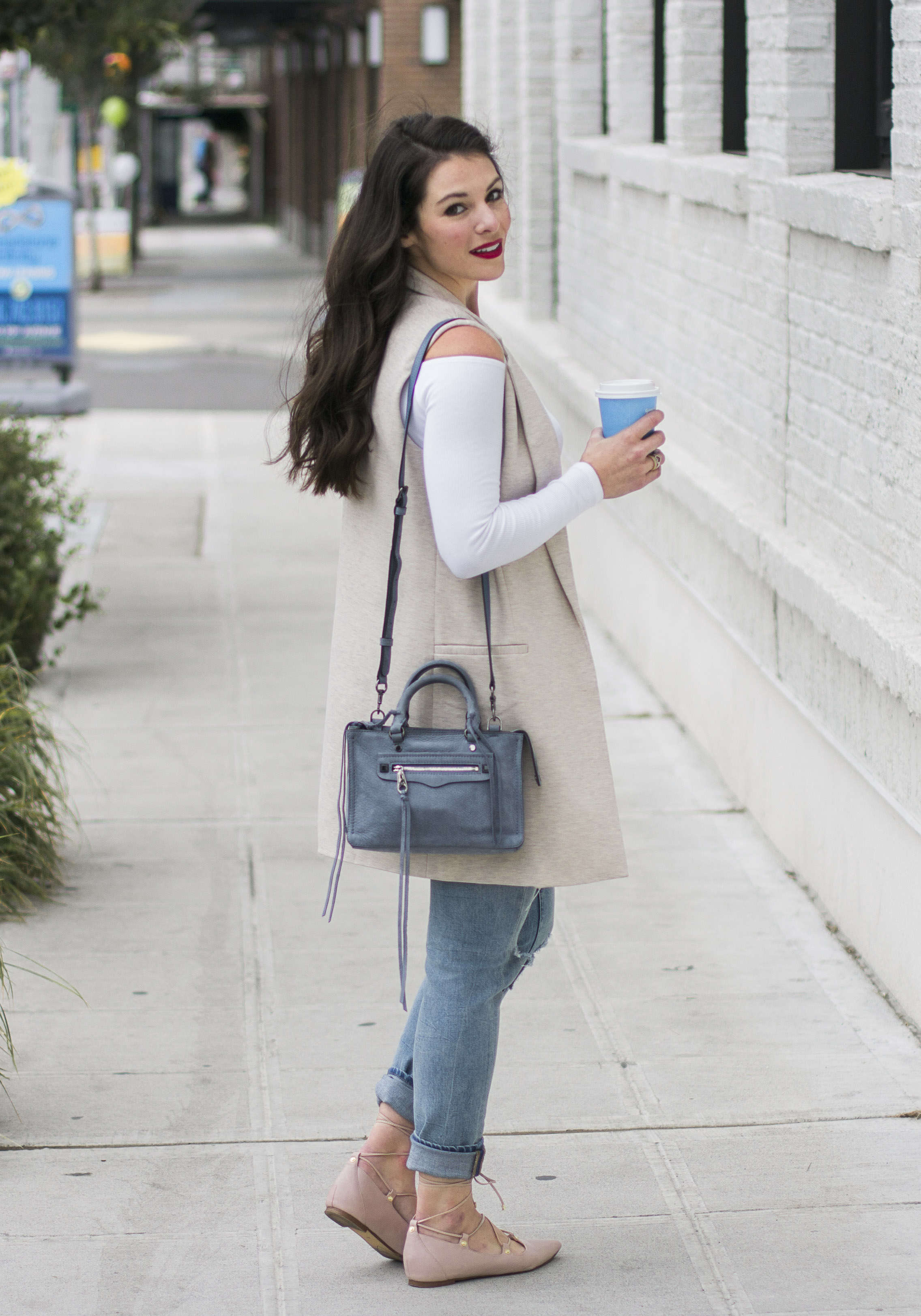 How to wear the off the shoulder trend this fall, ASOS off the shoulder top, Leith Ponte Sleeveless Vest, Blank NYC distressed skinny jeans, Owen lace-up ghillie flats, Rebecca Minkoff Micro Regan Satchel.