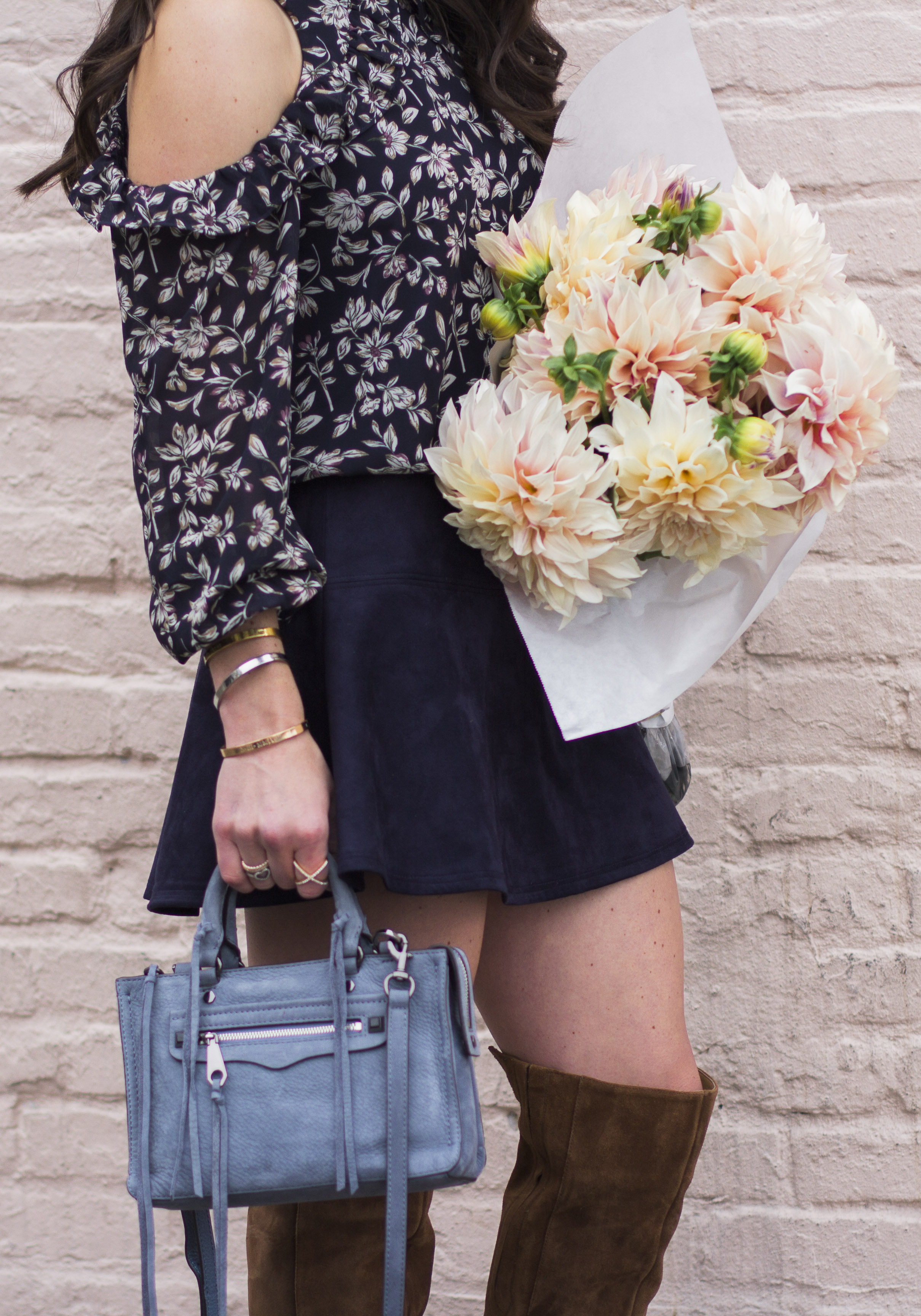 How to wear cold shoulder tops and dresses this fall, JOA floral print cold shoulder top, BB Dakota Abrams Skirt, Steve Madden Eternul Over the knee Boots, Rebecca Minkoff Micro Regan Satchel, Pike's Place Market, Dinner Plate Dahlias, Seattle Fashion Blogger.
