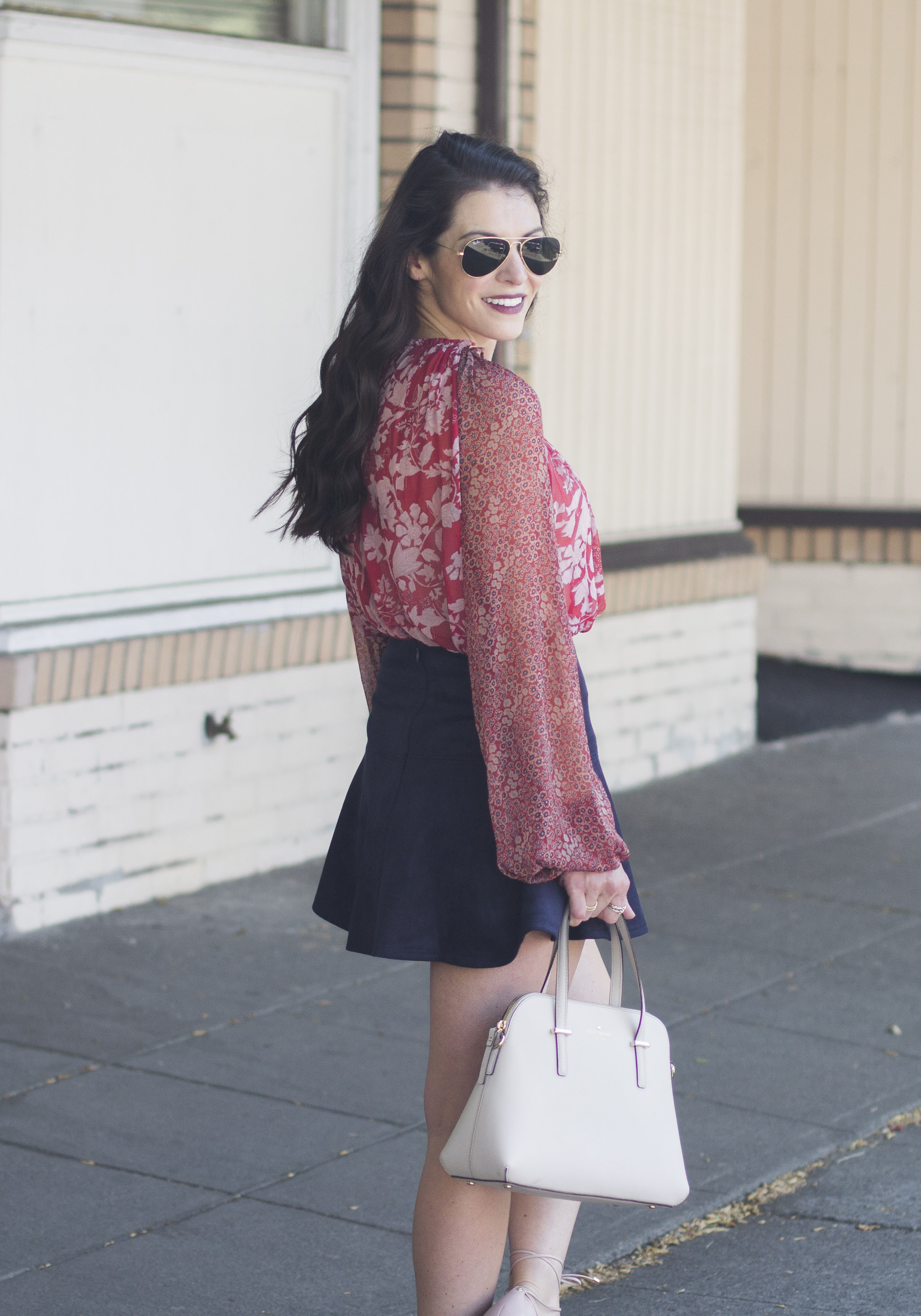 BB Dakota Abrams Skirt, Free People Hendrix Blouse, Kate Spade Cedar Street Maise Handbag, Halogen 'Owen' Ghillie Lace-up Flats, Ray-Ban Aviator Sunglasses, Cute Fall Outfits
