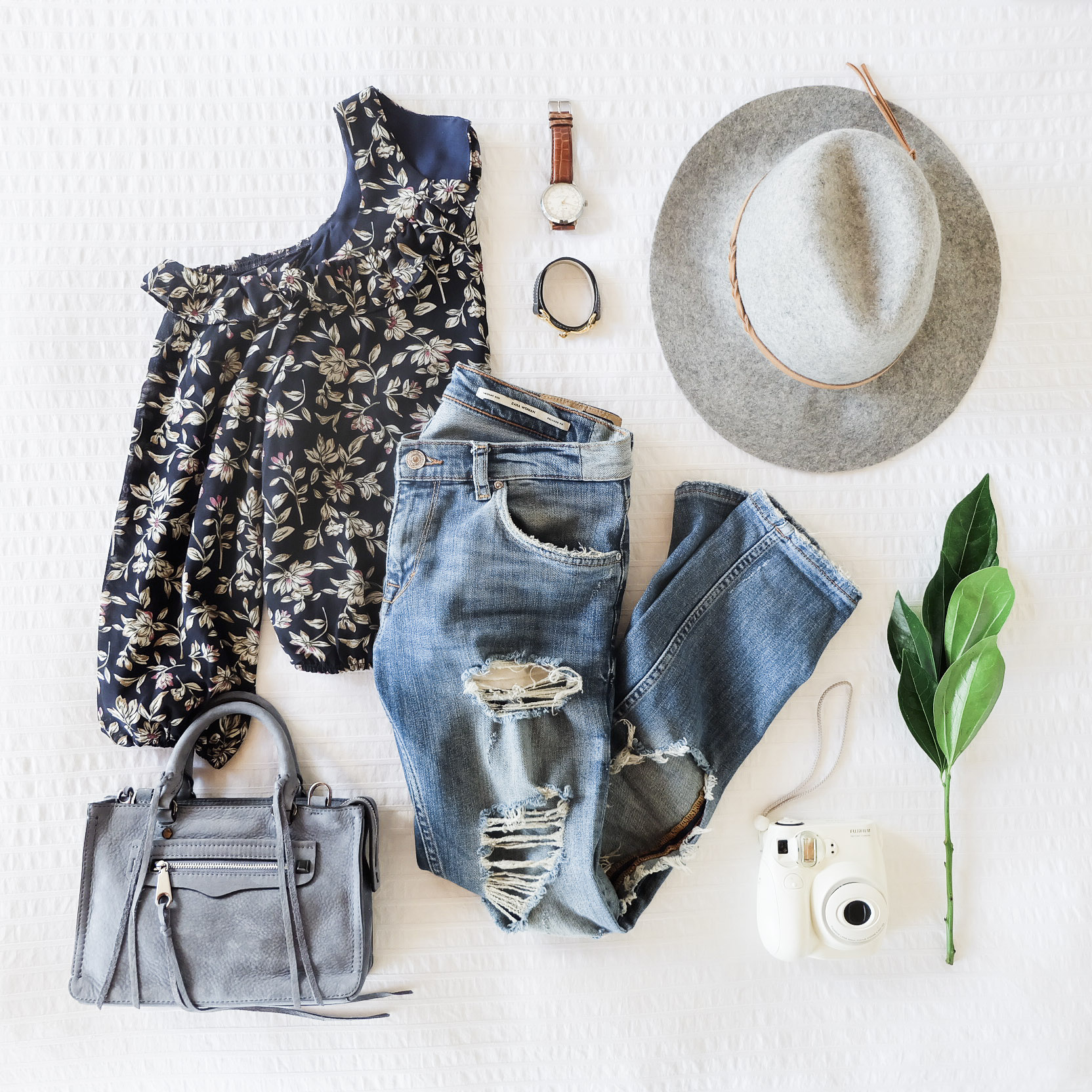 Cute Fall Outfits, Destroyed Denim Skinny Jeans with JOA Cold Shoulder Floral Print Top, Rebeca Minkoff Micro Regan Satchel, Casual Weekend Outfit for Fall.