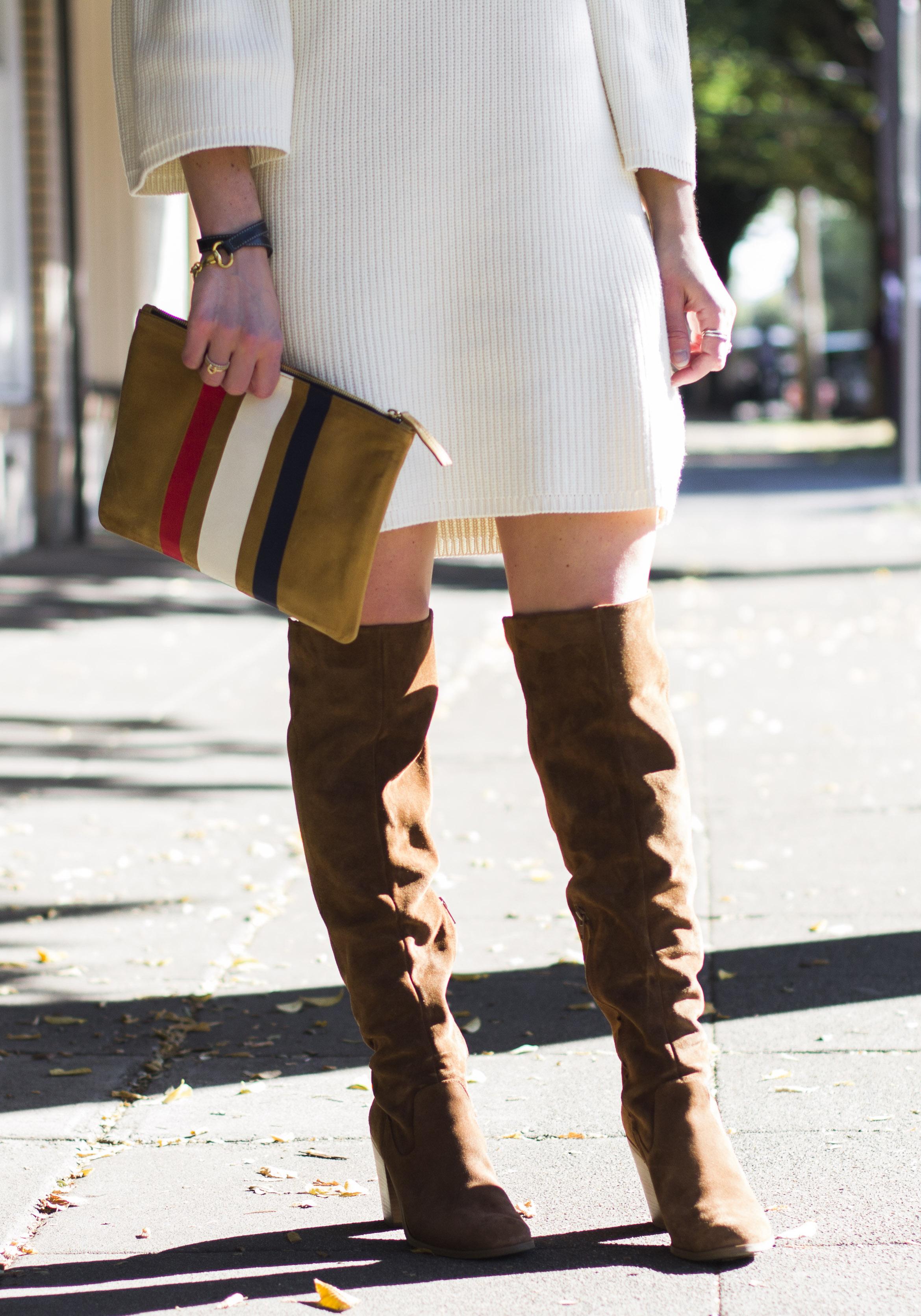Cute Fall Outfits, Minkpink Shameless Sweater Dress with Steve Madden Eternul Over The Knee Boots, Clare V. Stripe Clutch, Karen Walker Cat Eye Sunglasses, Sweater dress with OTK boots.