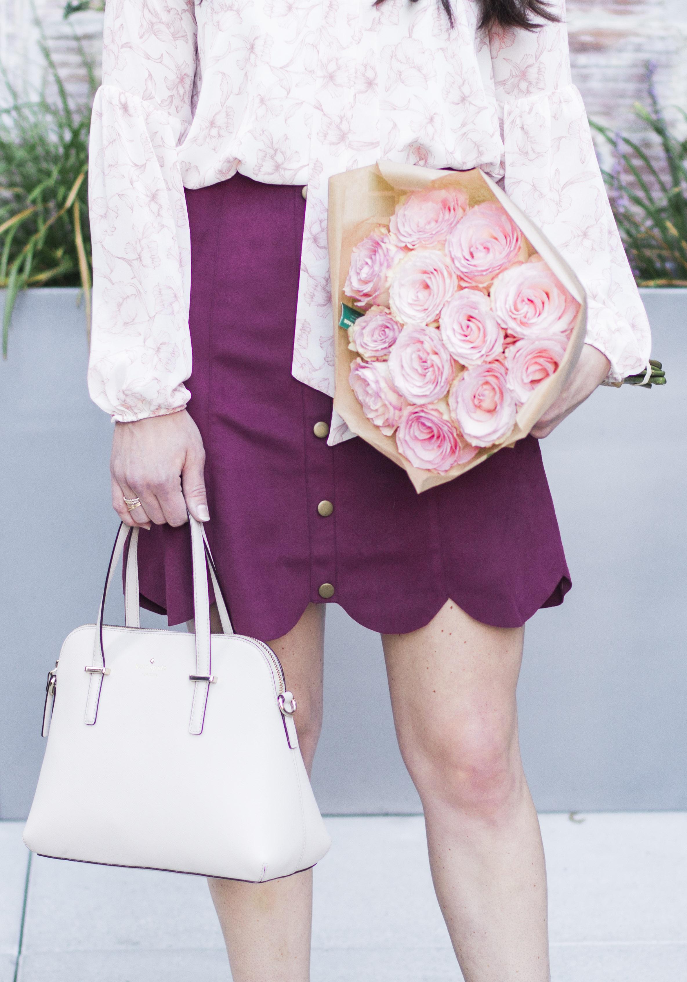 Cute fall outfits for work, Lush Print Tie Neck Blouse, LC Lauren Conrad Faux Suede Skirt, Sam Edelman Helaine Ghillie Pumps, Kate Spade Cedar Street Maise