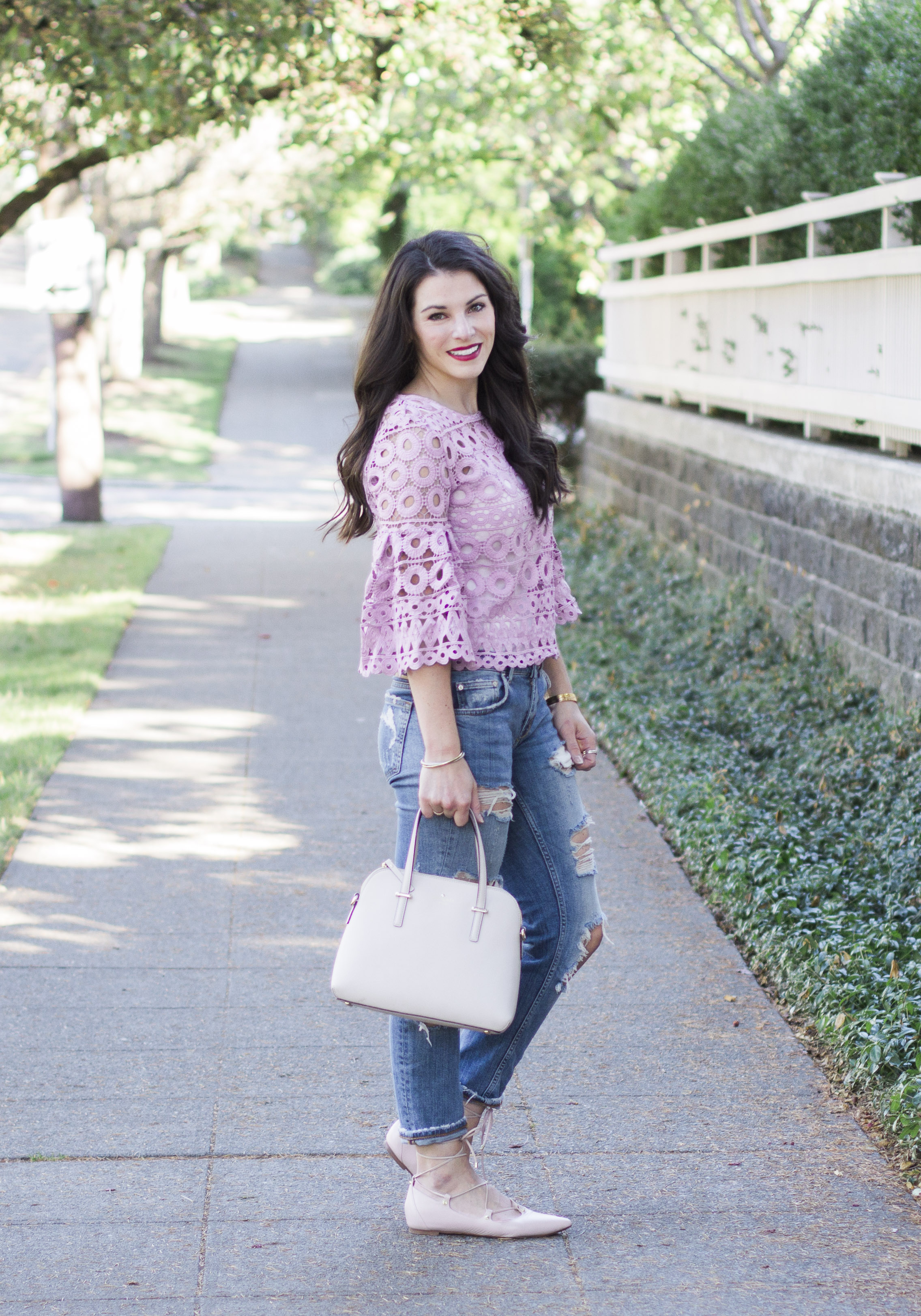How to mix feminine and edgy apparel, Style Mafia Kiana Lace Top, Destroyed Skinny Jeans, Halogen Owen Ghillie Flats, Kate Spade Cedar Street Maise, Cute Fall Outfits.